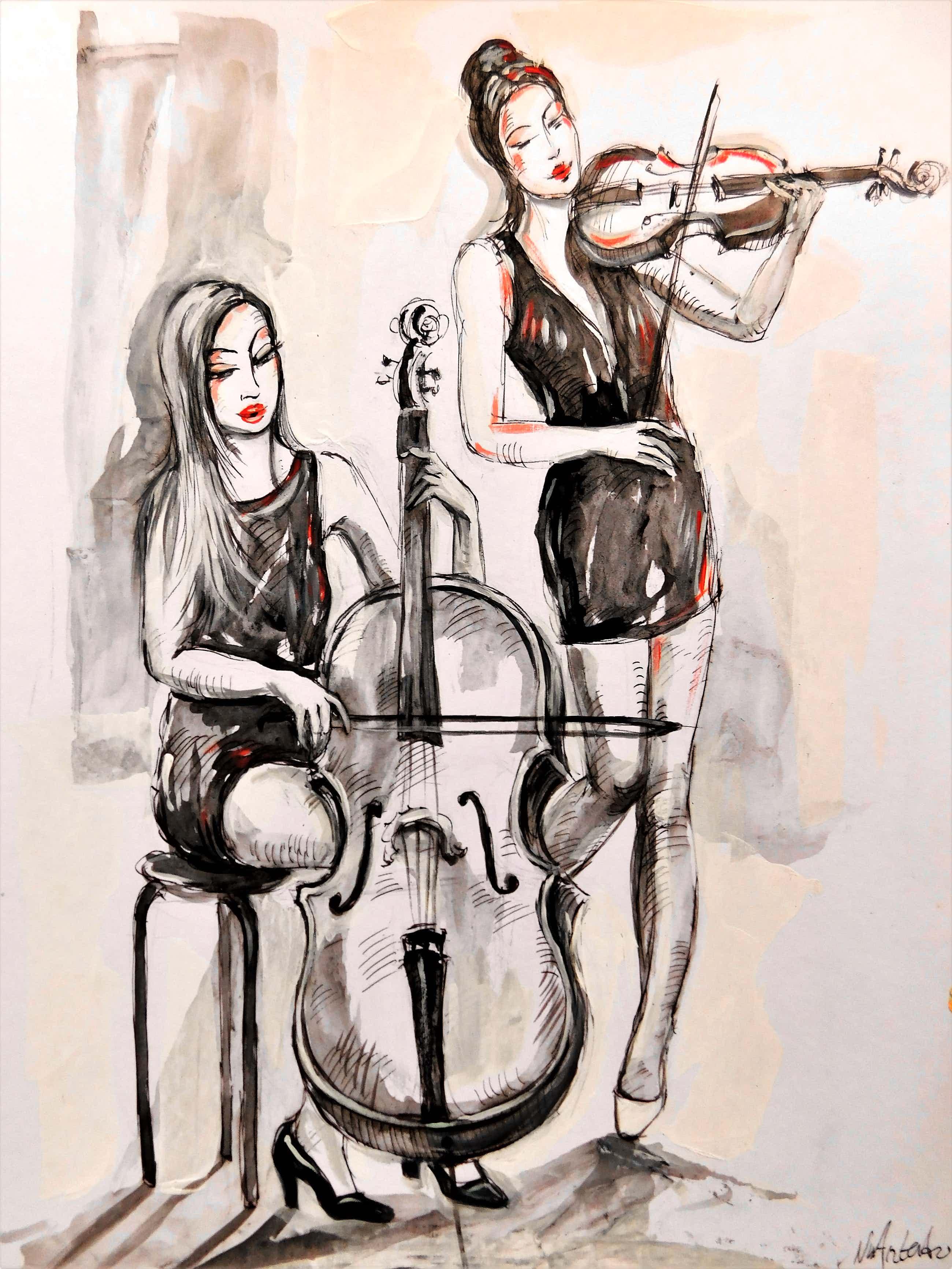 "Natia Antadze - ""Cello und Geiger Musikantinnen "" kopen? Bied vanaf 40!"