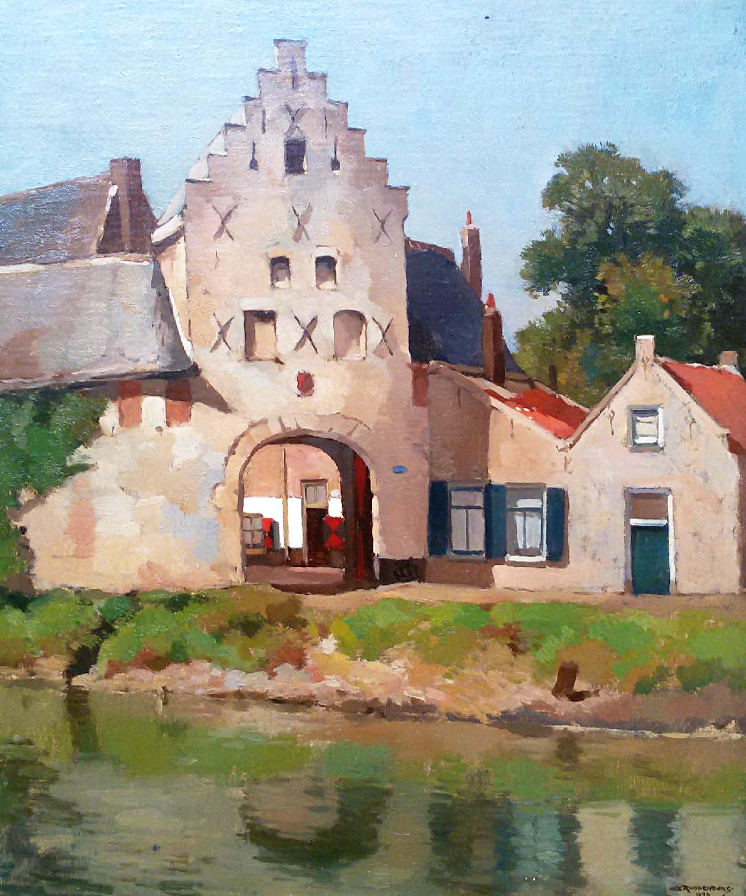 Hendrikus Roodenburg - Noordhavenpoort Zierikzee, olieverf marouflé op paneel (ingelijst) kopen? Bied vanaf 110!