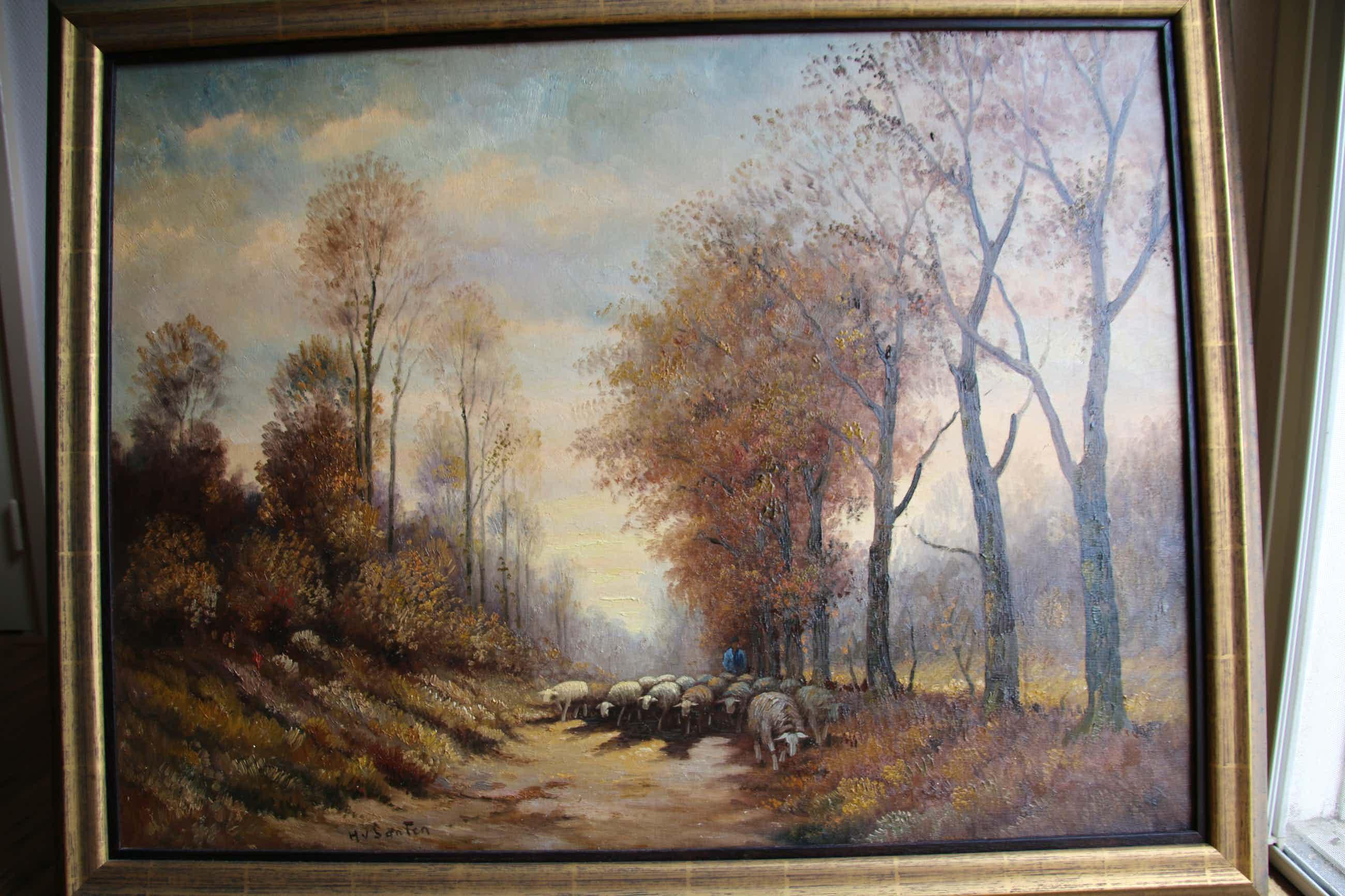Hans van Santen - Herder met schaapskudde op bospad kopen? Bied vanaf 575!
