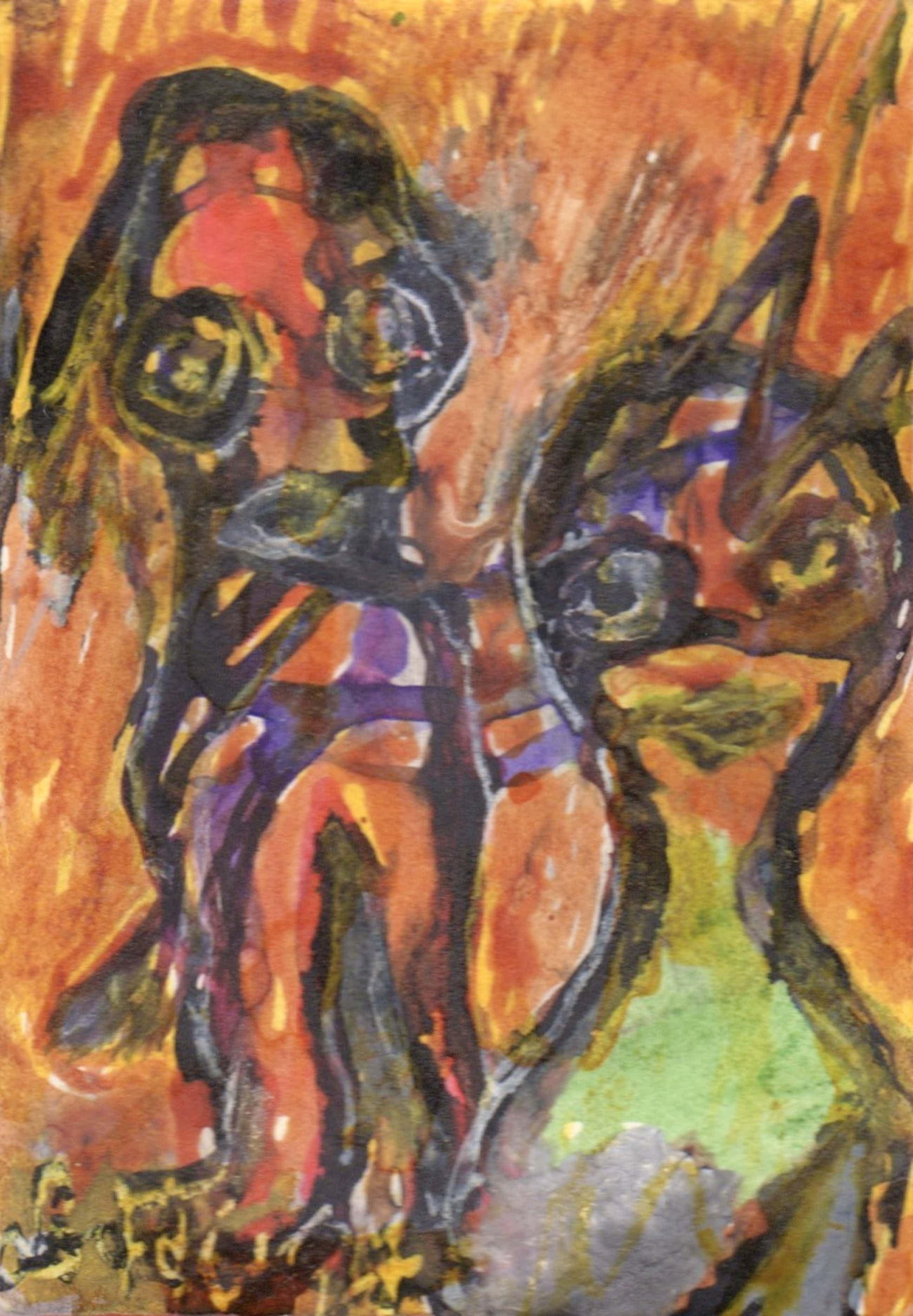 Lotti van der Gaag - gemengde techniek op papier | 'Voulez-vous dancer avec moi?' | 1997 kopen? Bied vanaf 300!