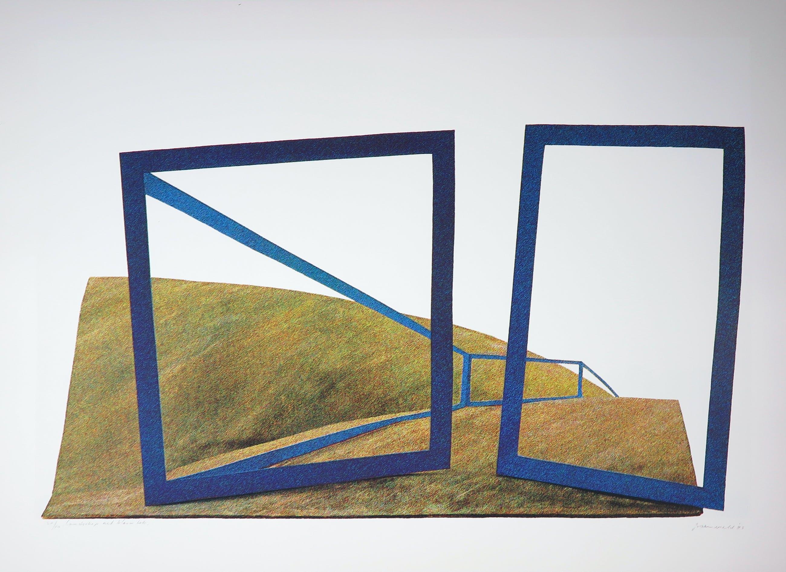 Doris Groeneveld - Zeefdruk, Landschap met blauwe vlek kopen? Bied vanaf 1!