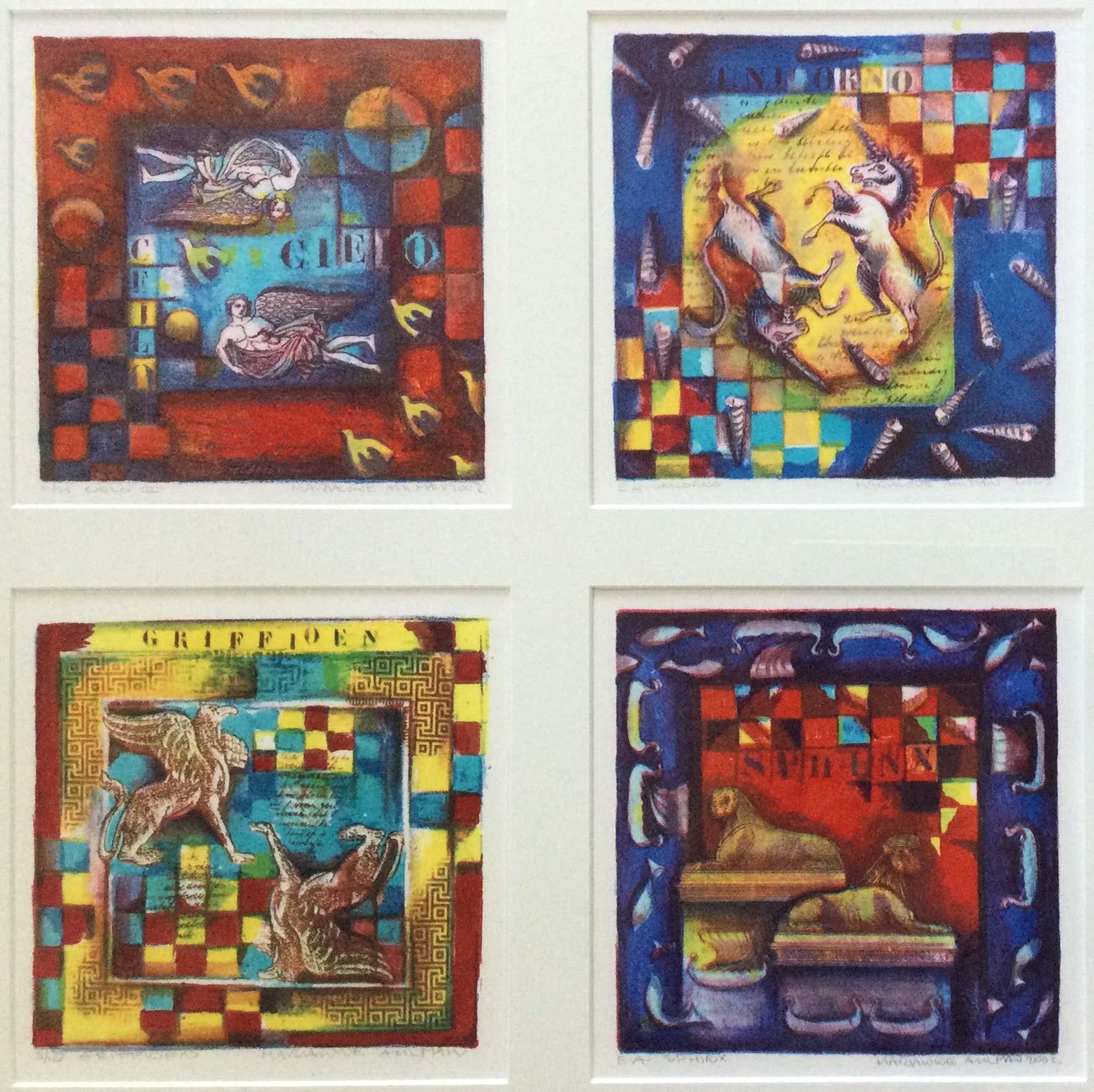 Marianne Aulman - Mythische wezens   vier kleuren zeefdrukken - ingelijst kopen? Bied vanaf 85!