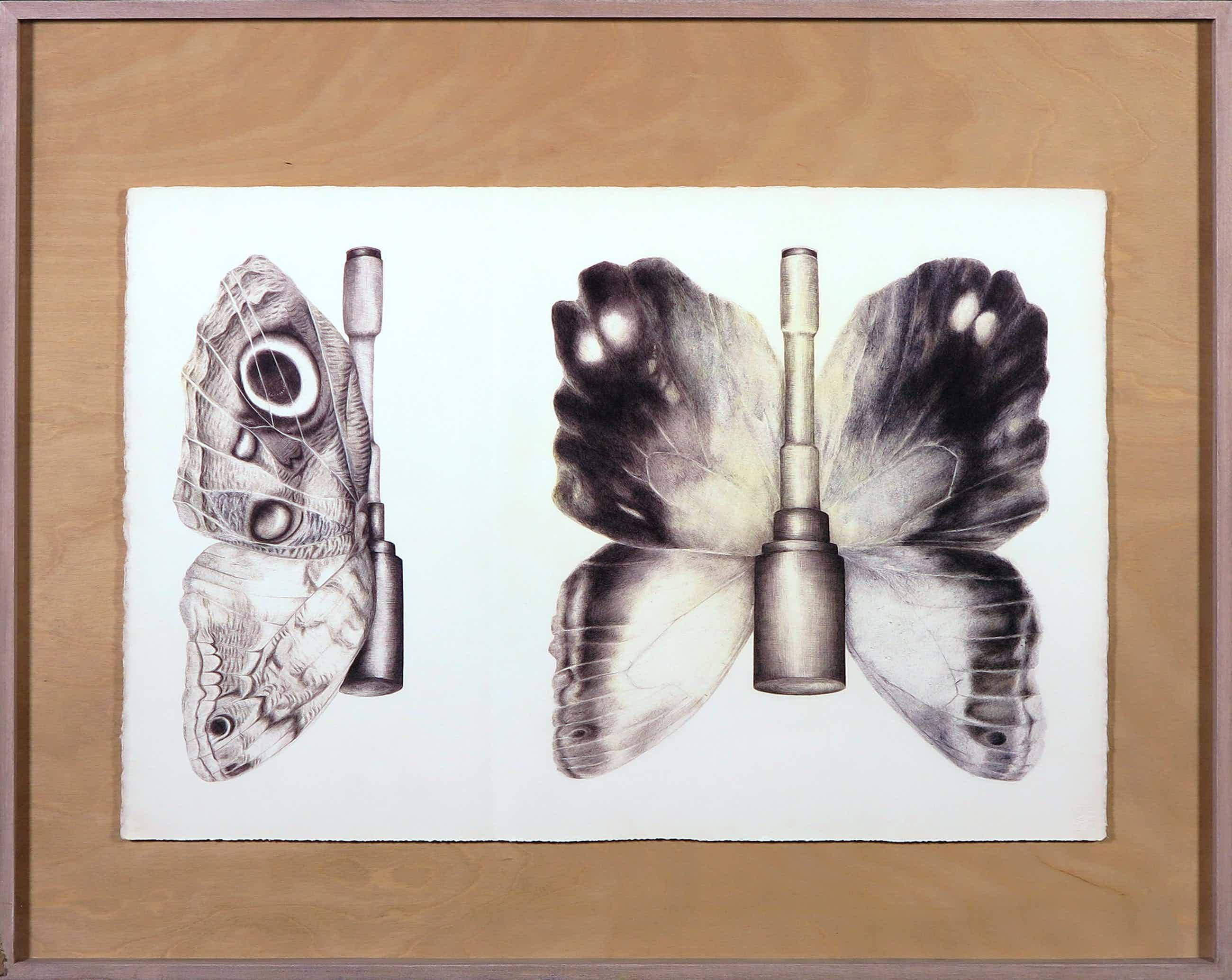 Lin de Mol - Pentekening, Book of determination, plate 3, butterfly grenade - Ingelijst kopen? Bied vanaf 100!