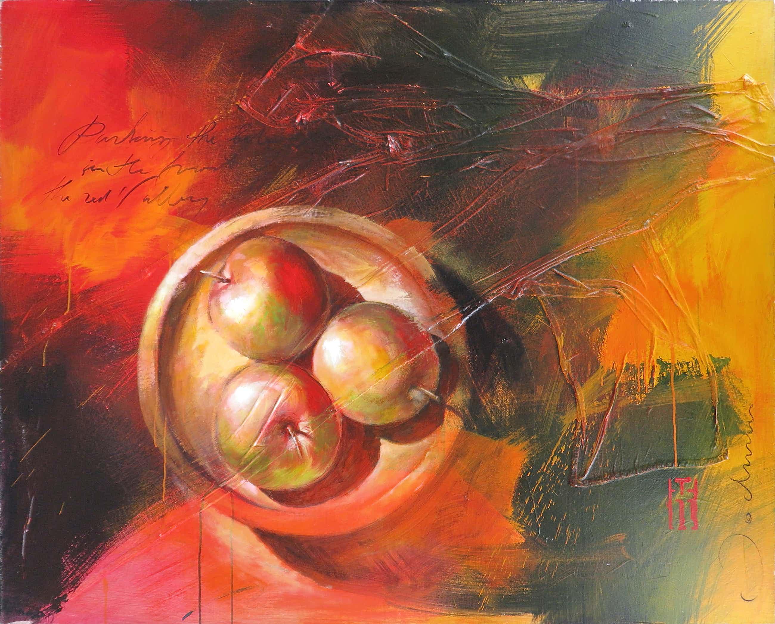 Jochum Bakker - Acryl op doek, Stilleven met appels (Zeer groot) kopen? Bied vanaf 250!