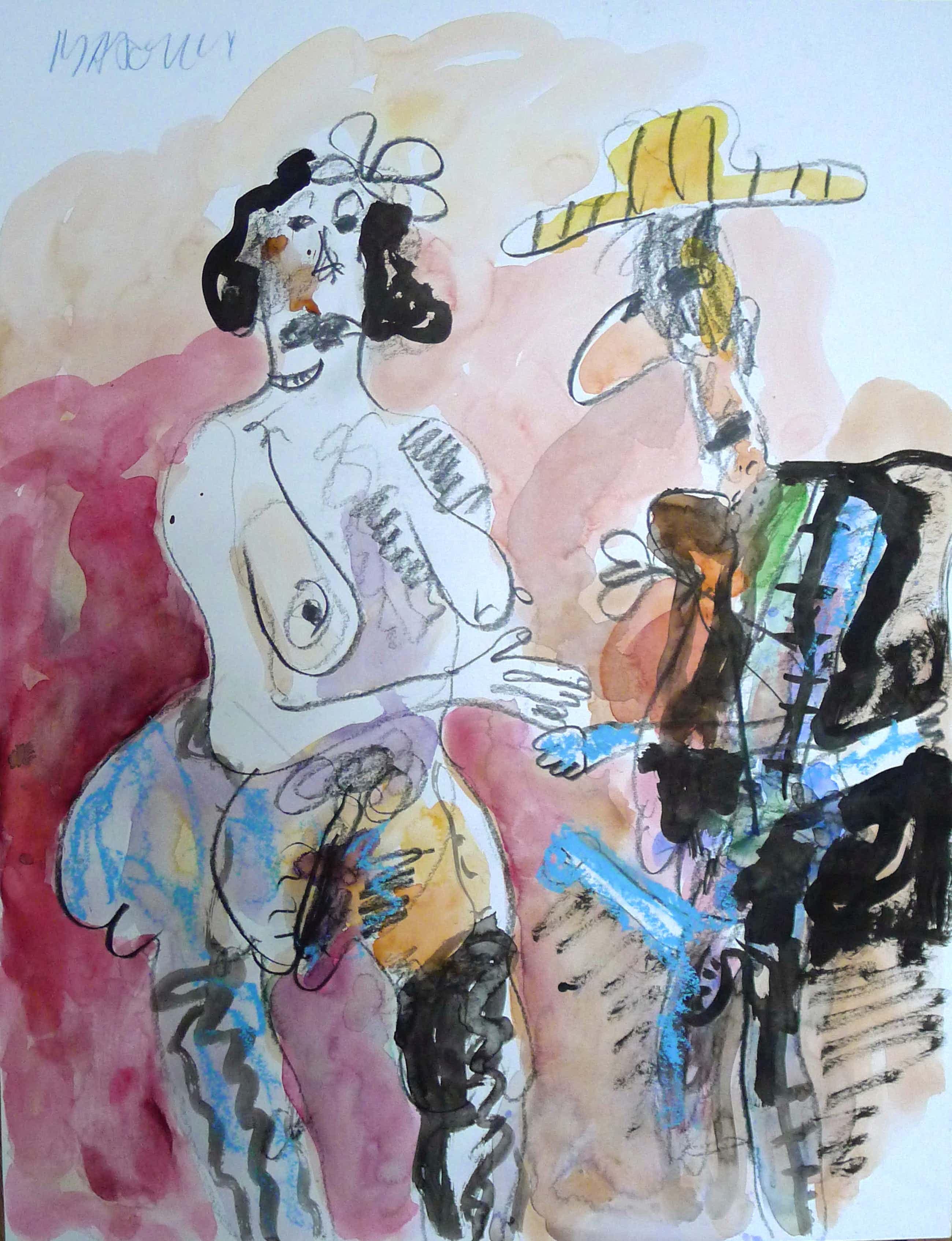 Anton Martineau - COWBOY EN ZIJN MODEL Tekening/Gouache met pastelkrijt kopen? Bied vanaf 275!
