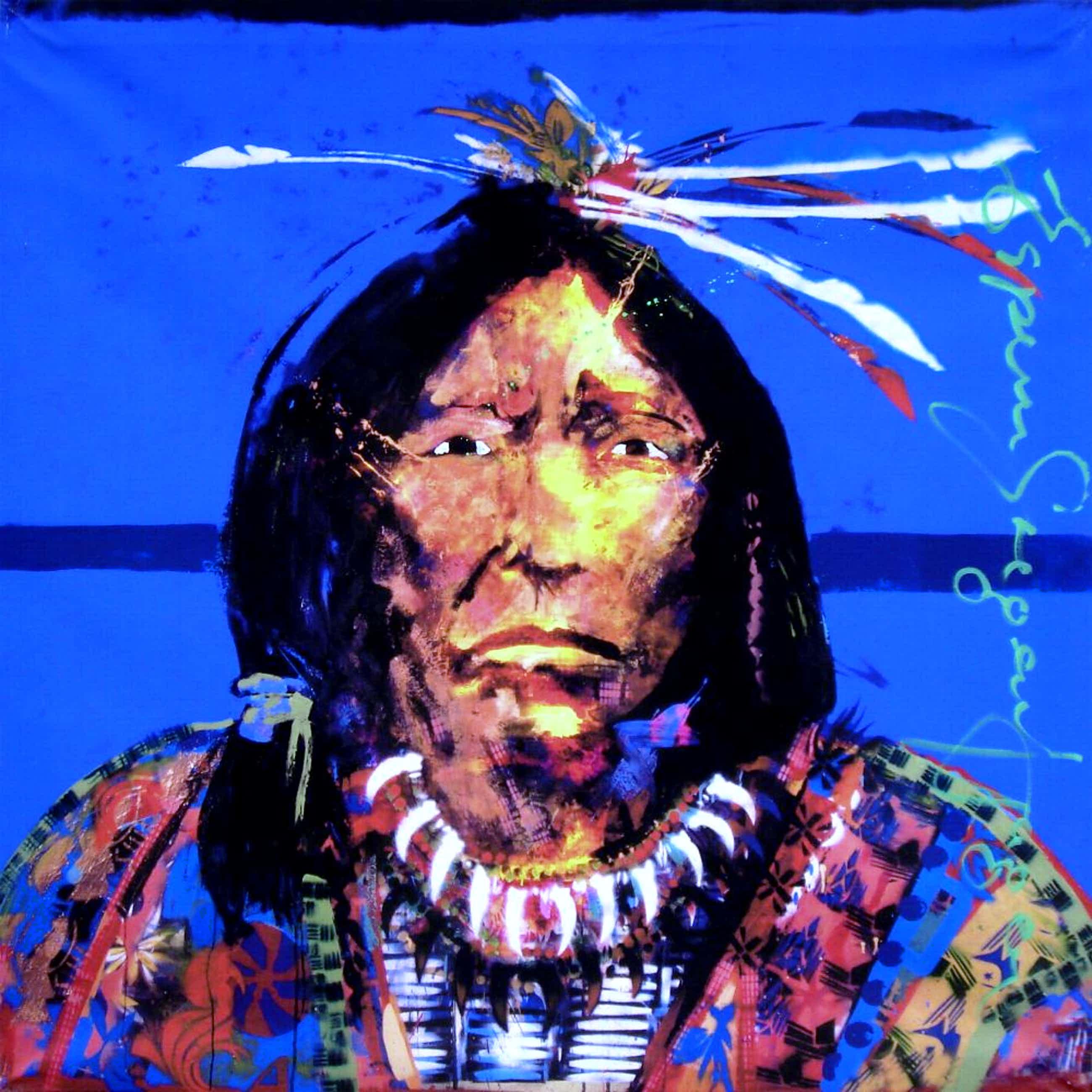 Espen Hagen - Mohawk Indian - Handgesigneerde Giclee op linnen (90x90 cm.) kopen? Bied vanaf 95!