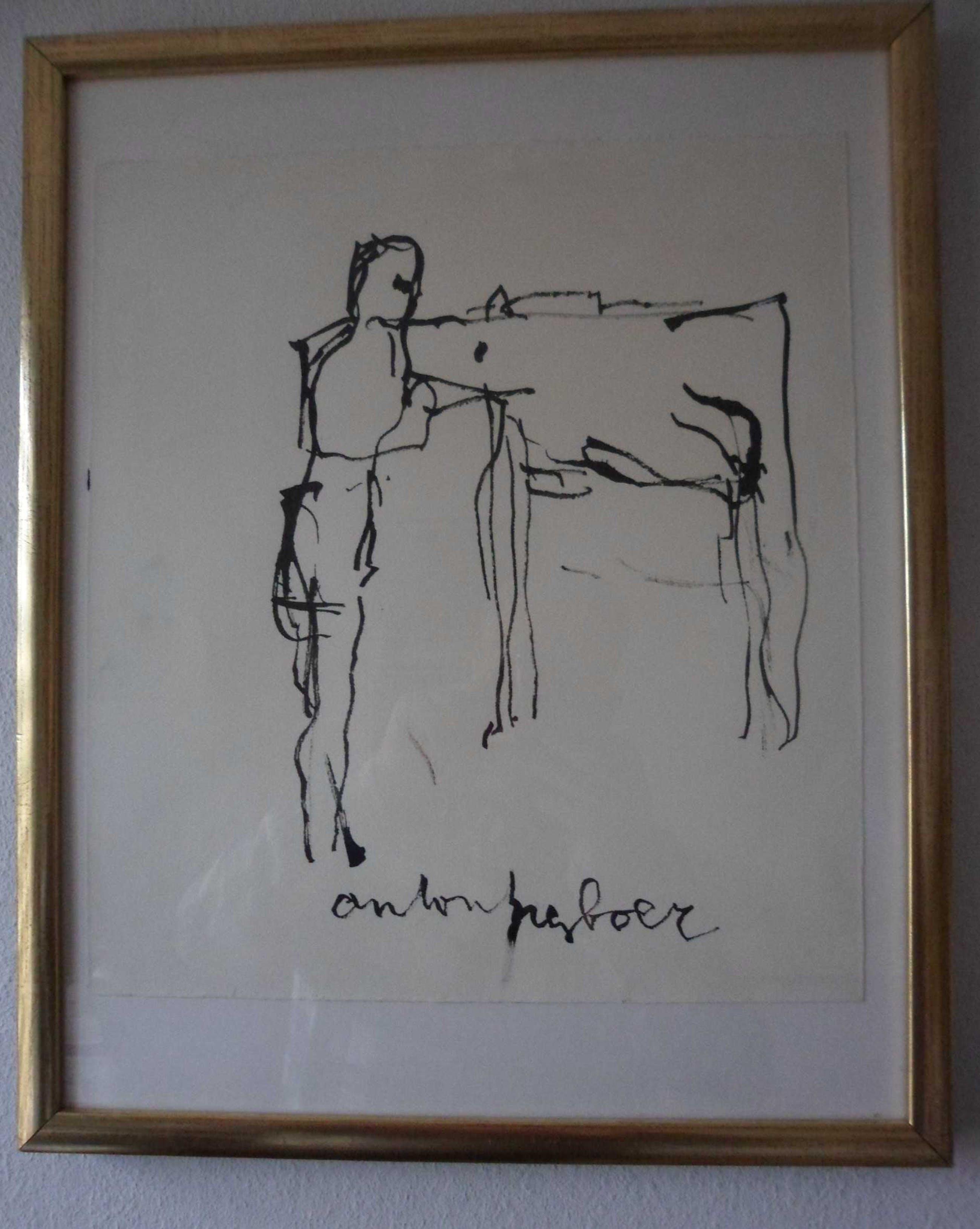 Anton Heyboer - Penseeltekeningen op molenpapier. Anton Heyboer met zijn Deense Dog Kunti kopen? Bied vanaf 175!