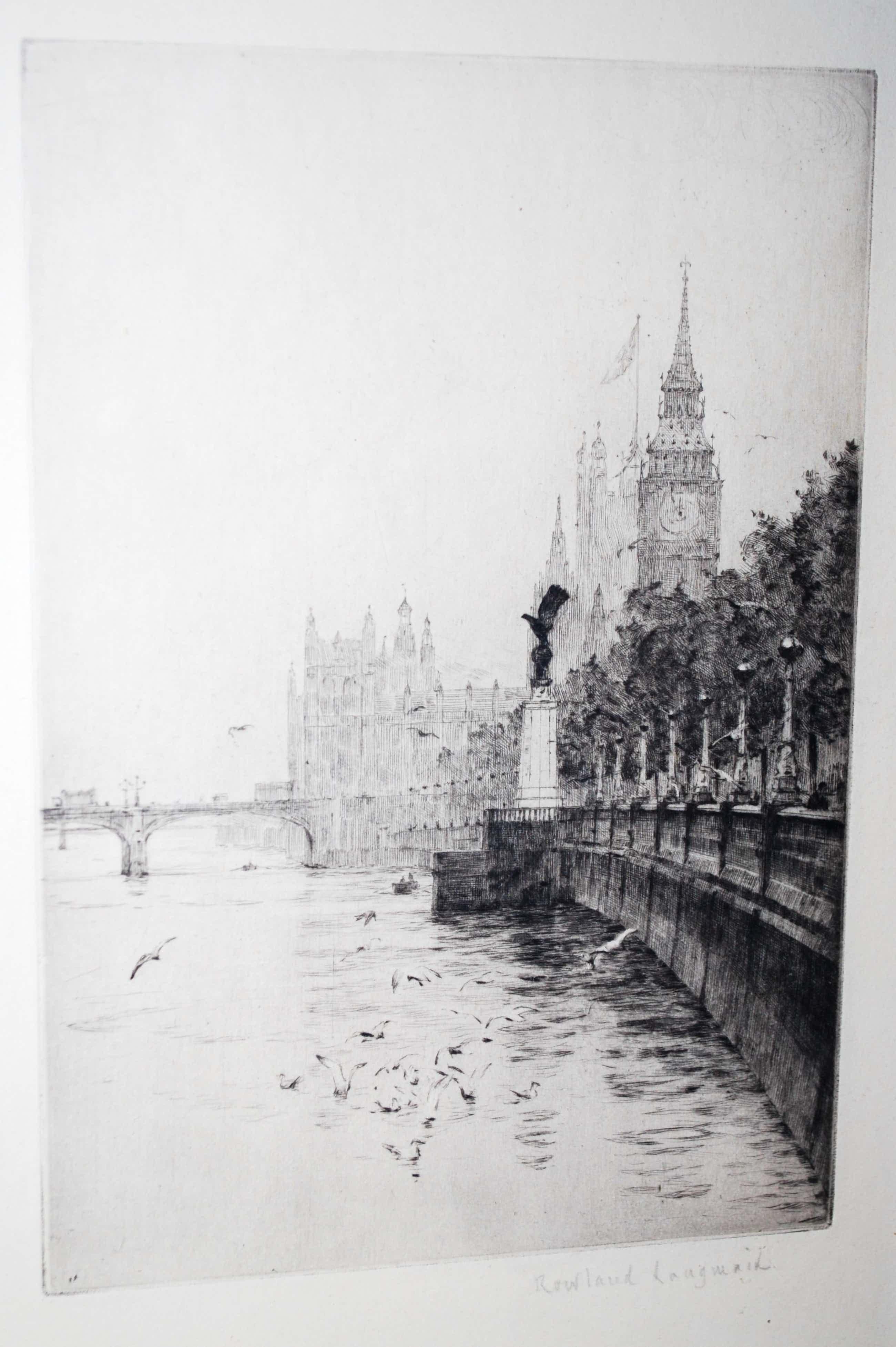 Rowland Langmaid - Londen - het RAF memorial en Houses of Parliament - ets kopen? Bied vanaf 75!