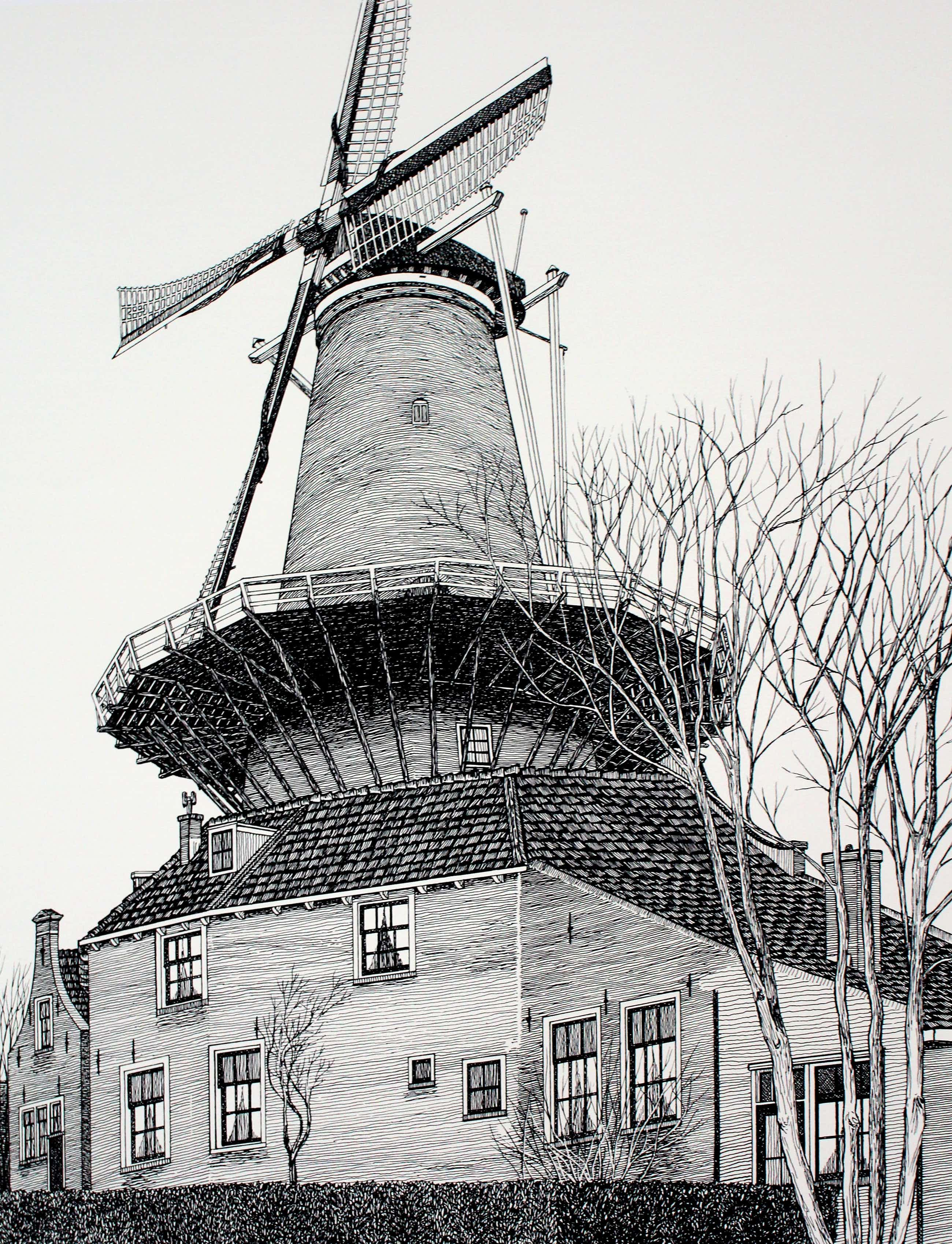 """Sees Vlag - Zeefdruk: """"Delft - de Molen De Roos"""" kopen? Bied vanaf 99!"""