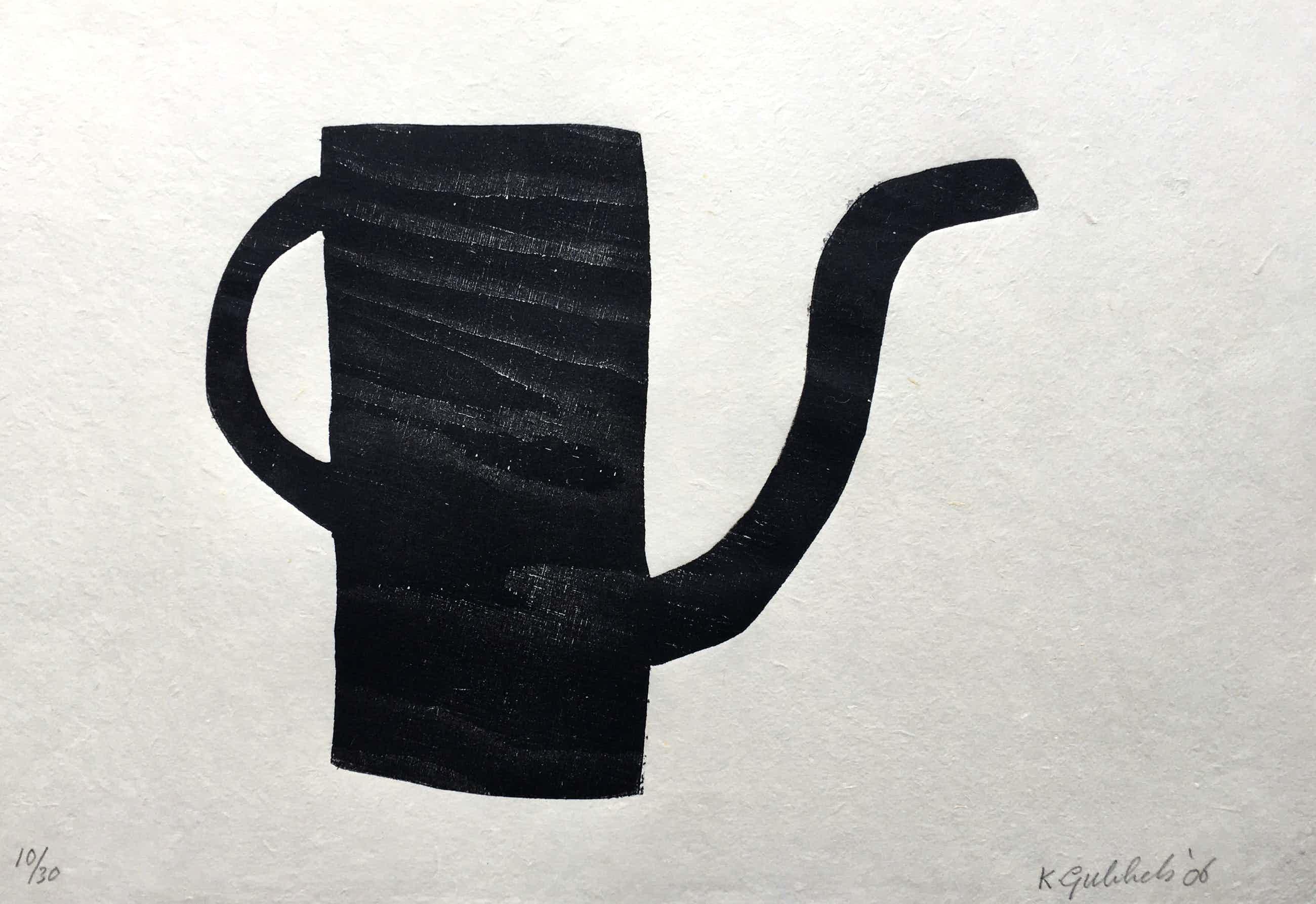 Klaas Gubbels - houtdruk 'Zwarte kan ' - 2006 - oplage 30 kopen? Bied vanaf 375!
