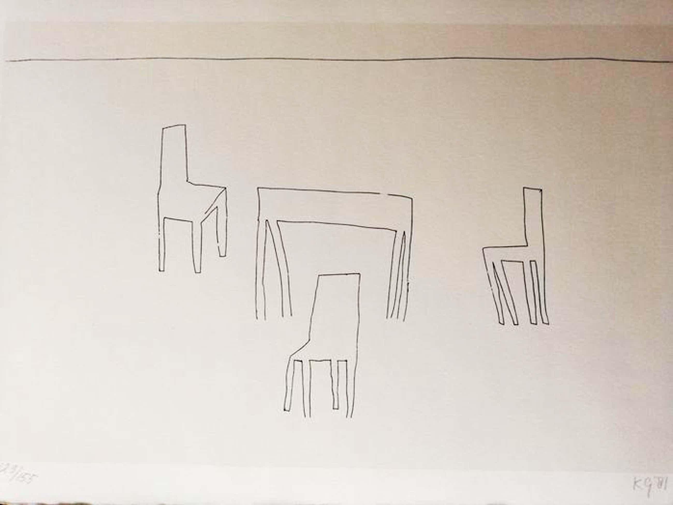 Klaas Gubbels - tafel en stoelen - 1981 - handgesigneerd kopen? Bied vanaf 145!