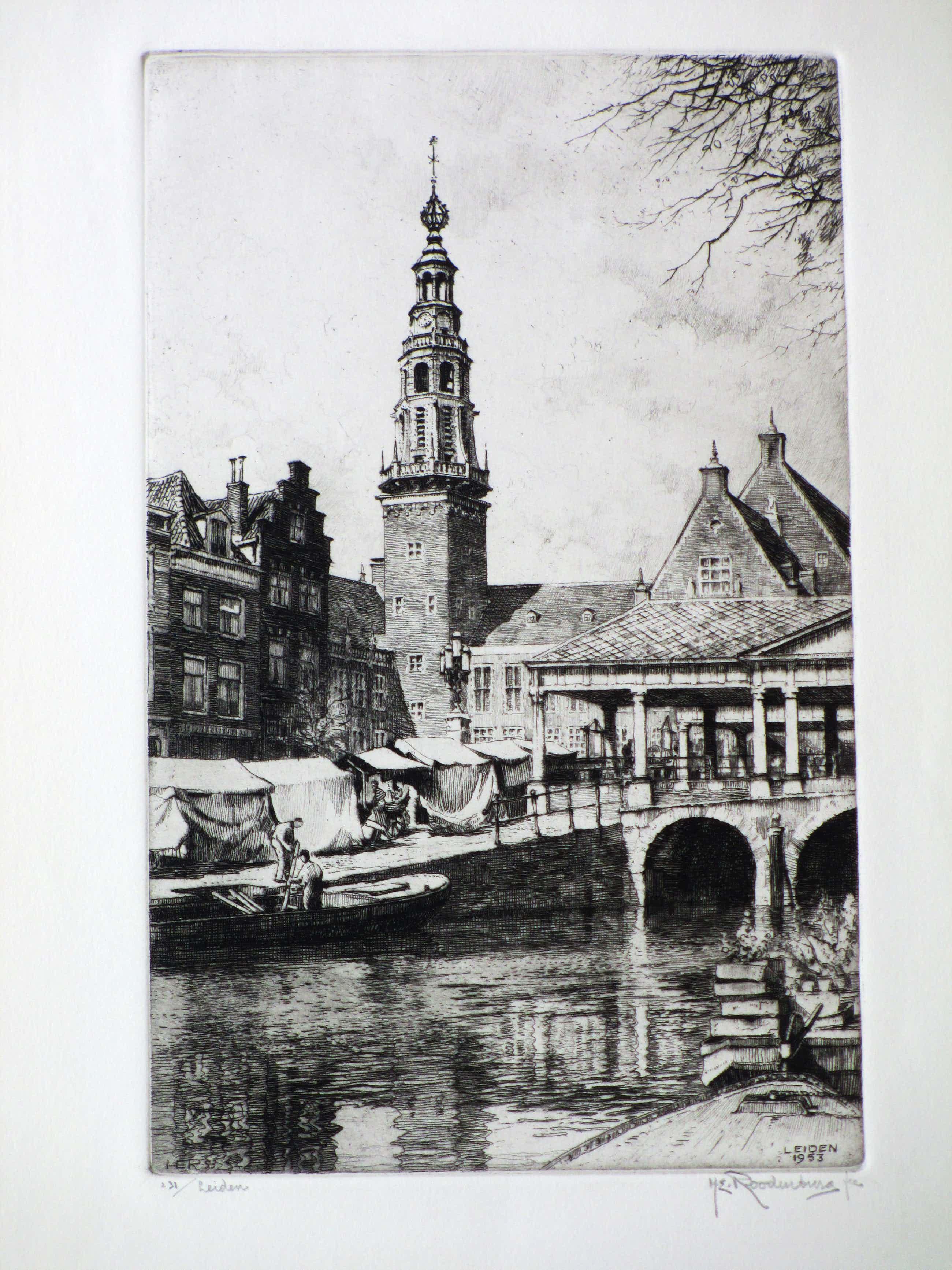 Hendrikus Roodenburg - Korenbeurs en Stadhuis Leiden - Ets kopen? Bied vanaf 40!