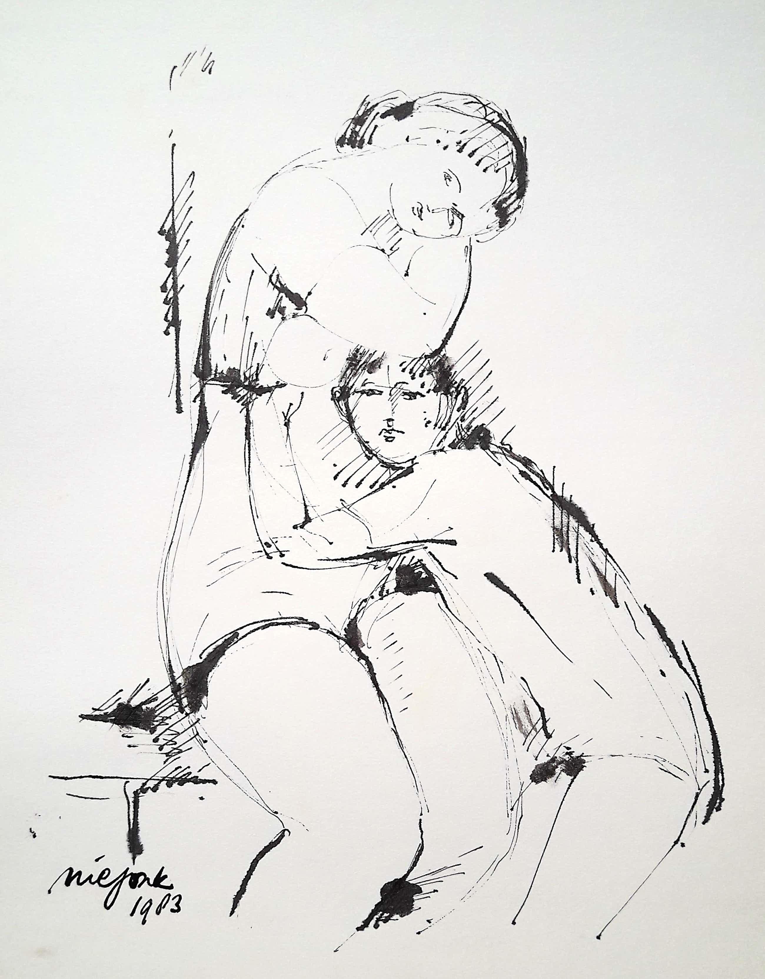 Nic Jonk - Vrouw met zoon, tekening op papier kopen? Bied vanaf 50!