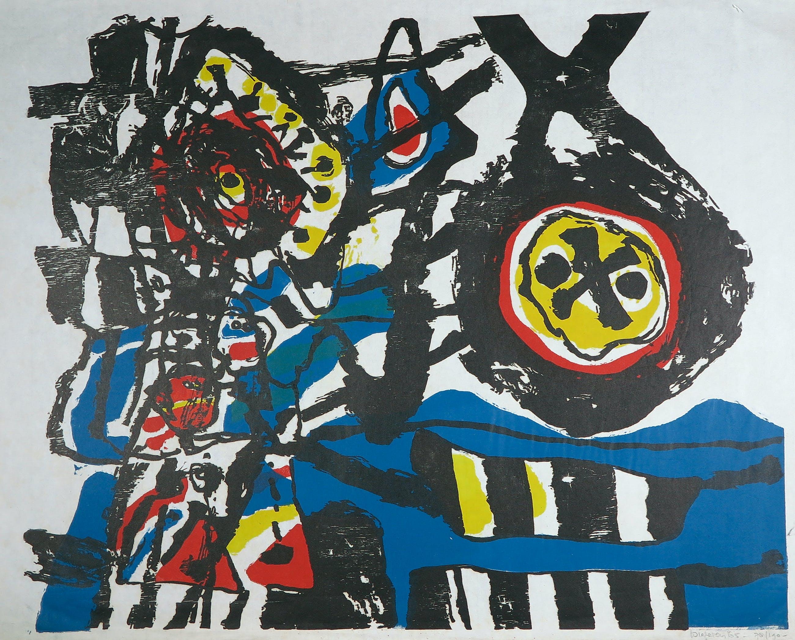 Jef Diederen - Houtsnede op Japans papier, Abstracte compositie kopen? Bied vanaf 1!