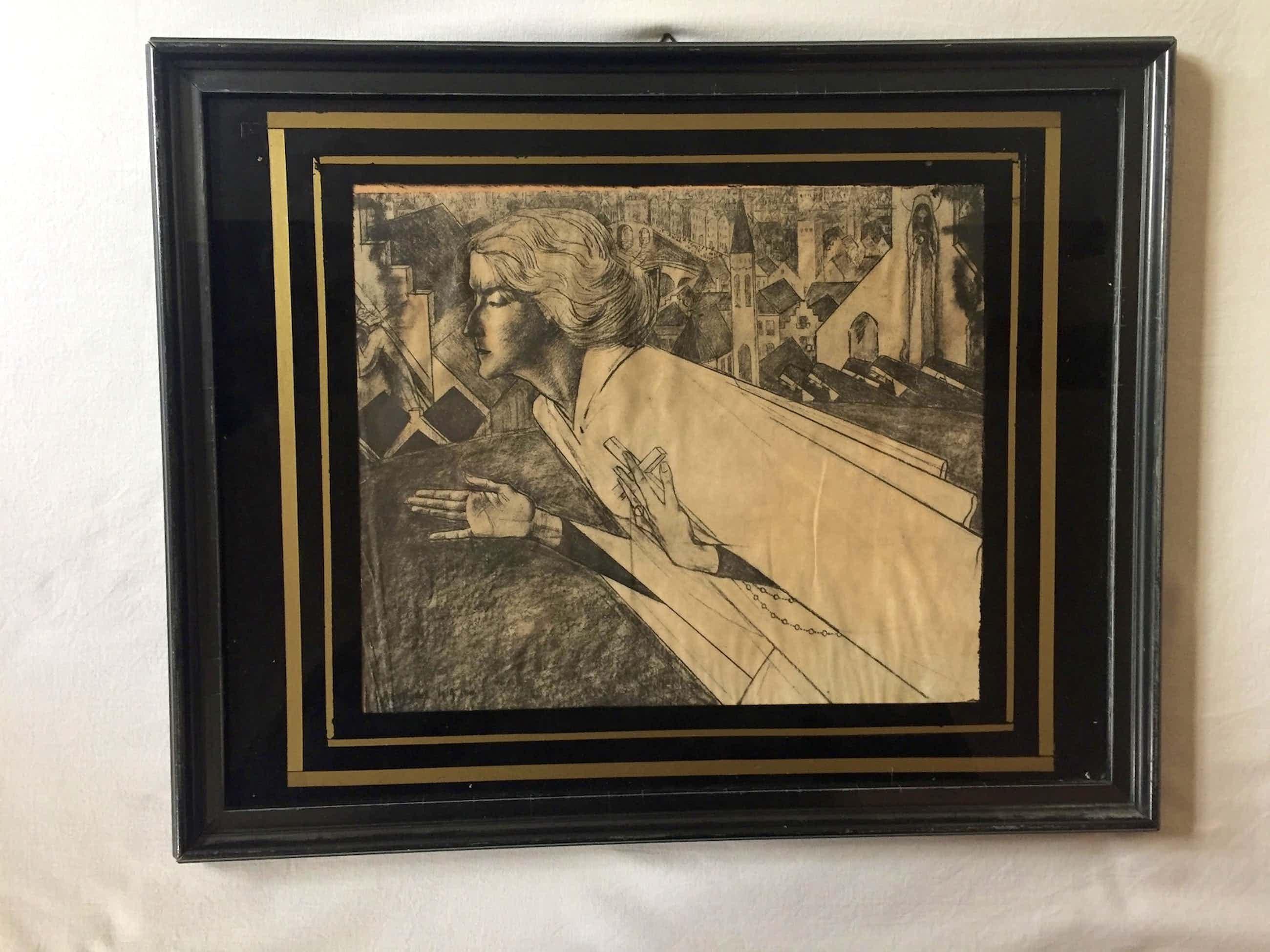 Jan Toorop - Vrouw met kruis - Lithografie, Ingelijst kopen? Bied vanaf 85!