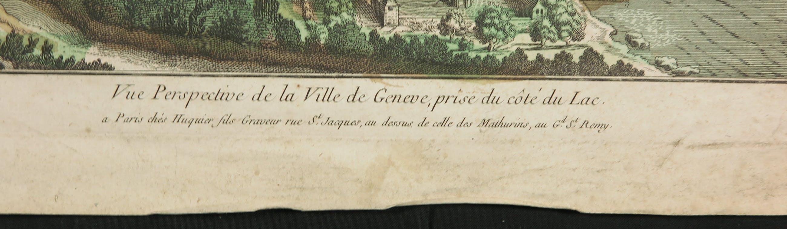 Jacques Gabriel Huquier - Gravure, La ville de Genève + J. van Wijngaarden - Aquarel, Boerenvrouw kopen? Bied vanaf 1!