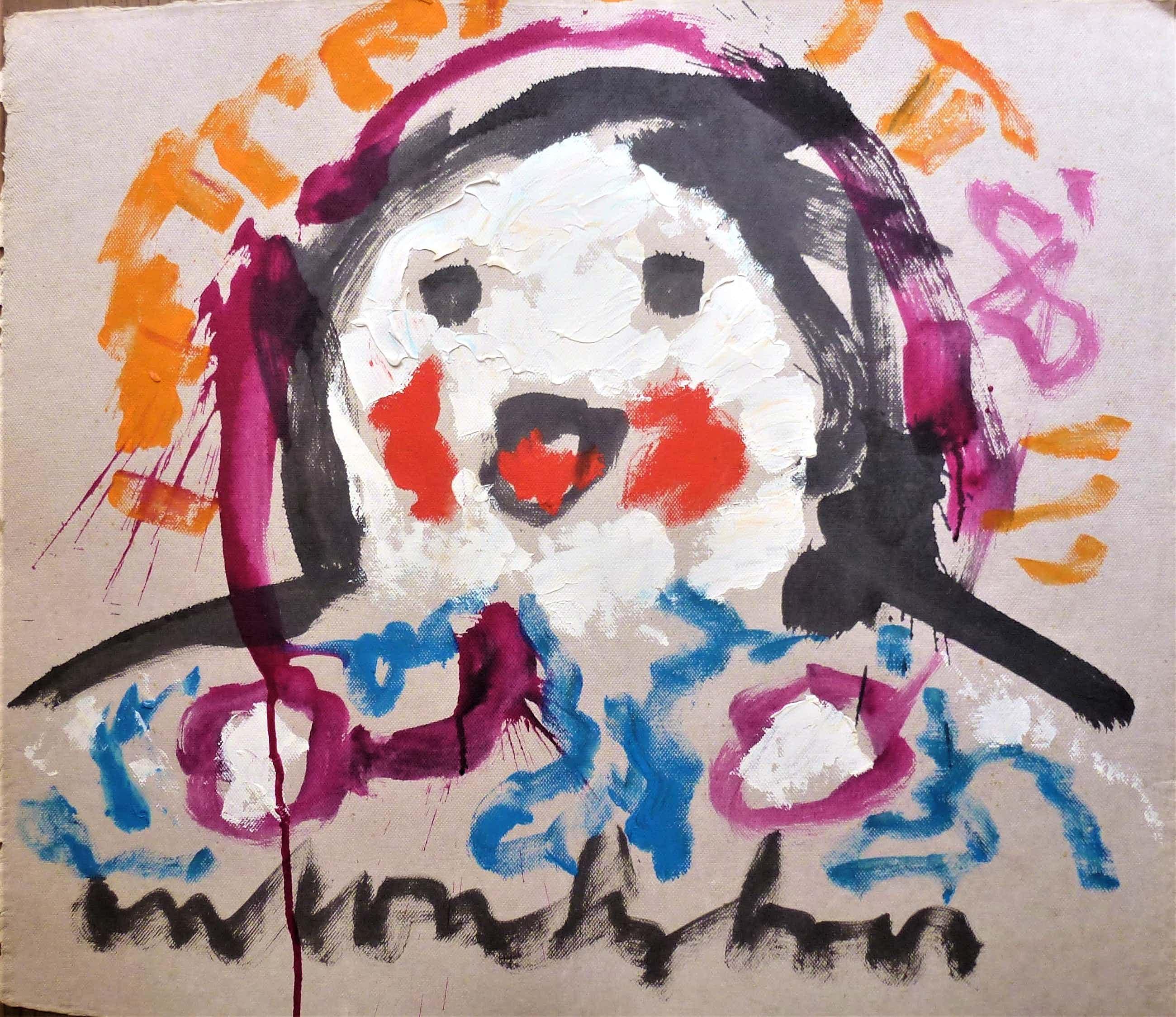Anton Heyboer - Lachende madonna Vrolijke kleurrijke schildering . kopen? Bied vanaf 180!