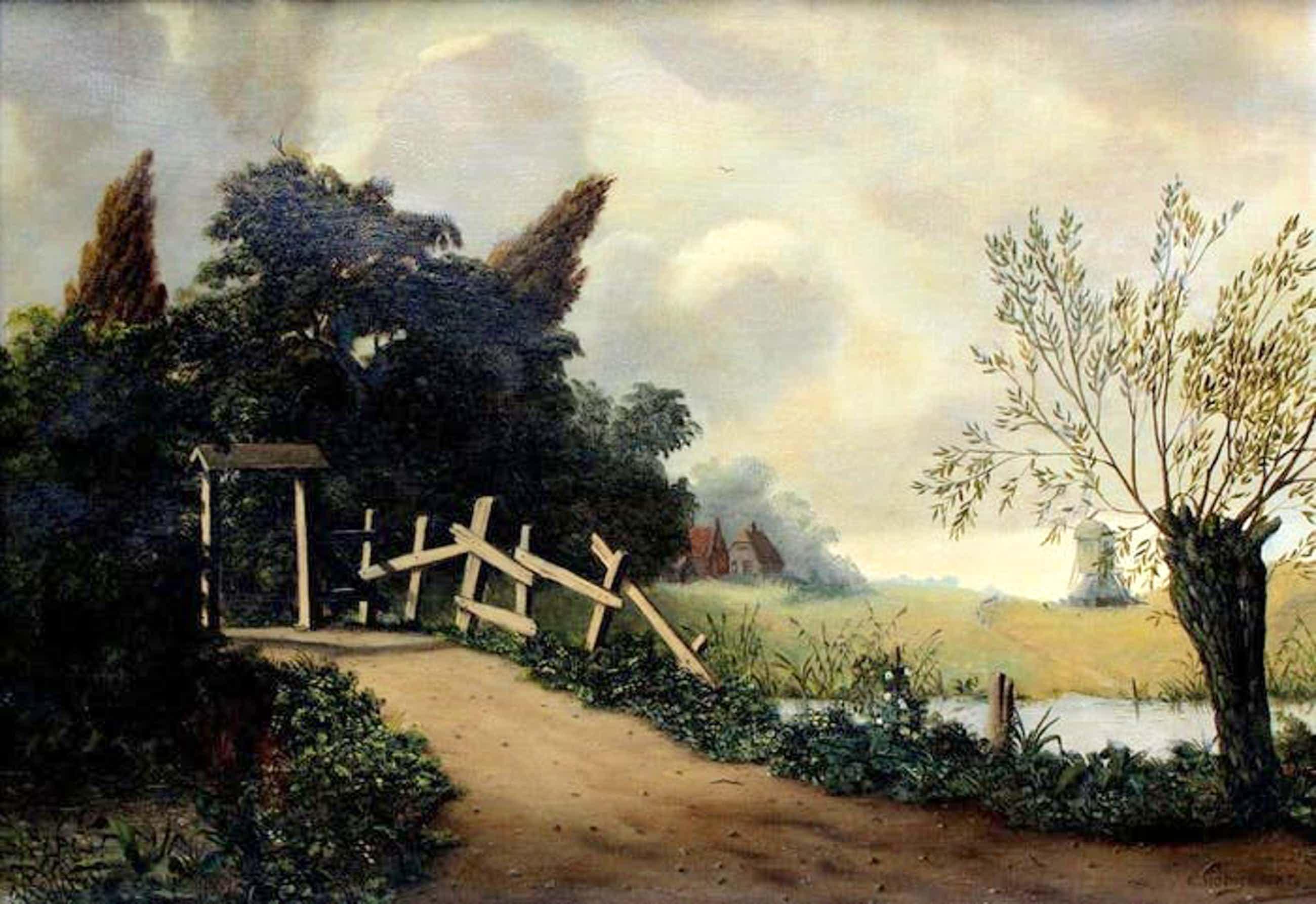 Elbert Hooijberg - Olieverf op doek: landschap met molen kopen? Bied vanaf 349!