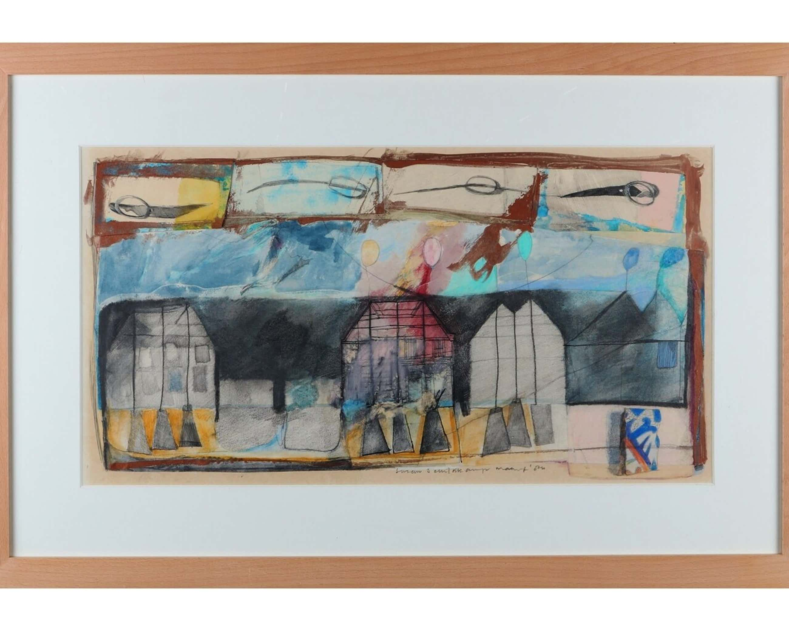 """Susan Schildkamp - Gemengde techniek en collage op papier, Titel, """"Het koekhuis lll kopen? Bied vanaf 40!"""
