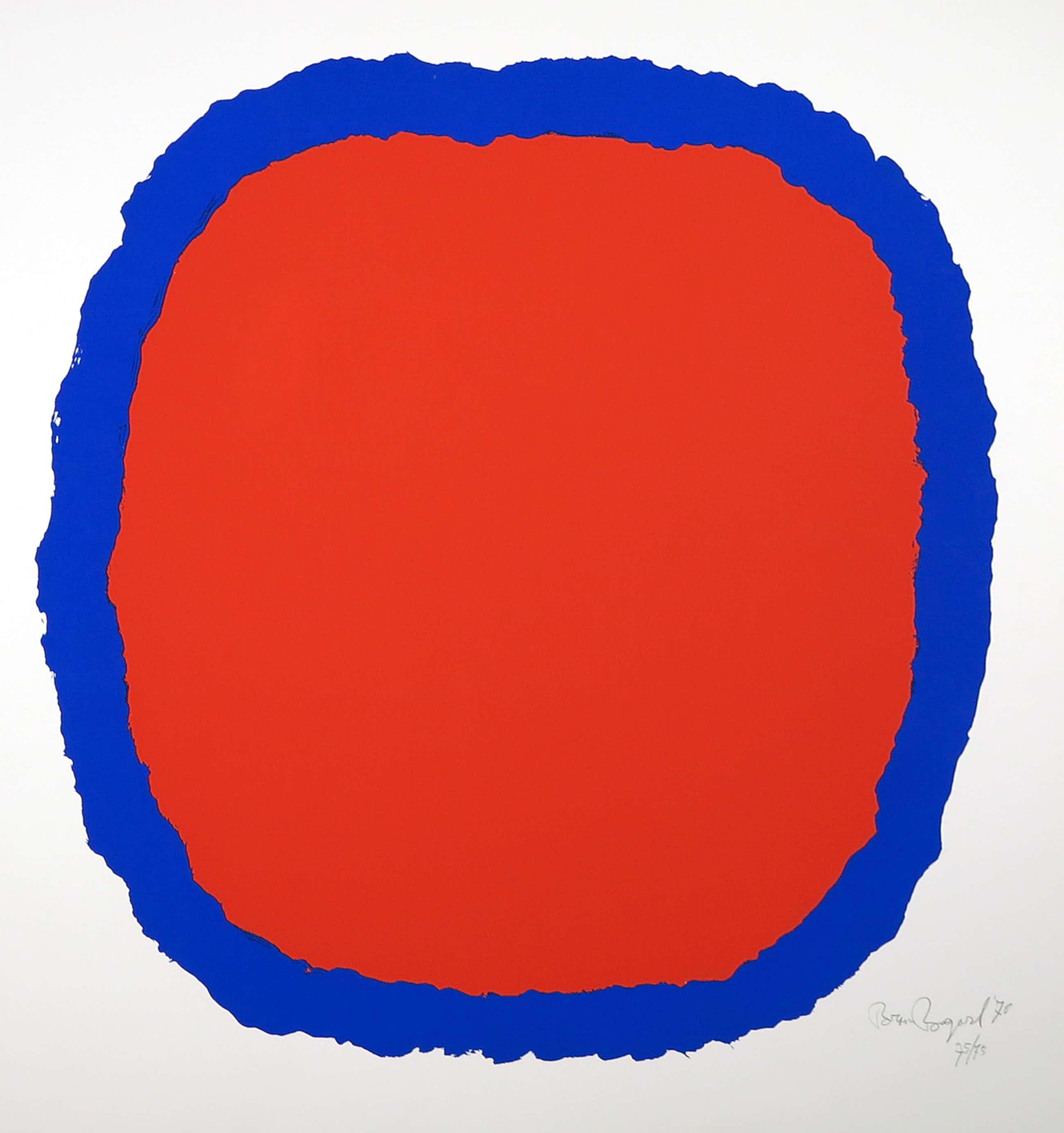 Bram Bogart - Zeefdruk, Compositie in rood en blauw kopen? Bied vanaf 306!