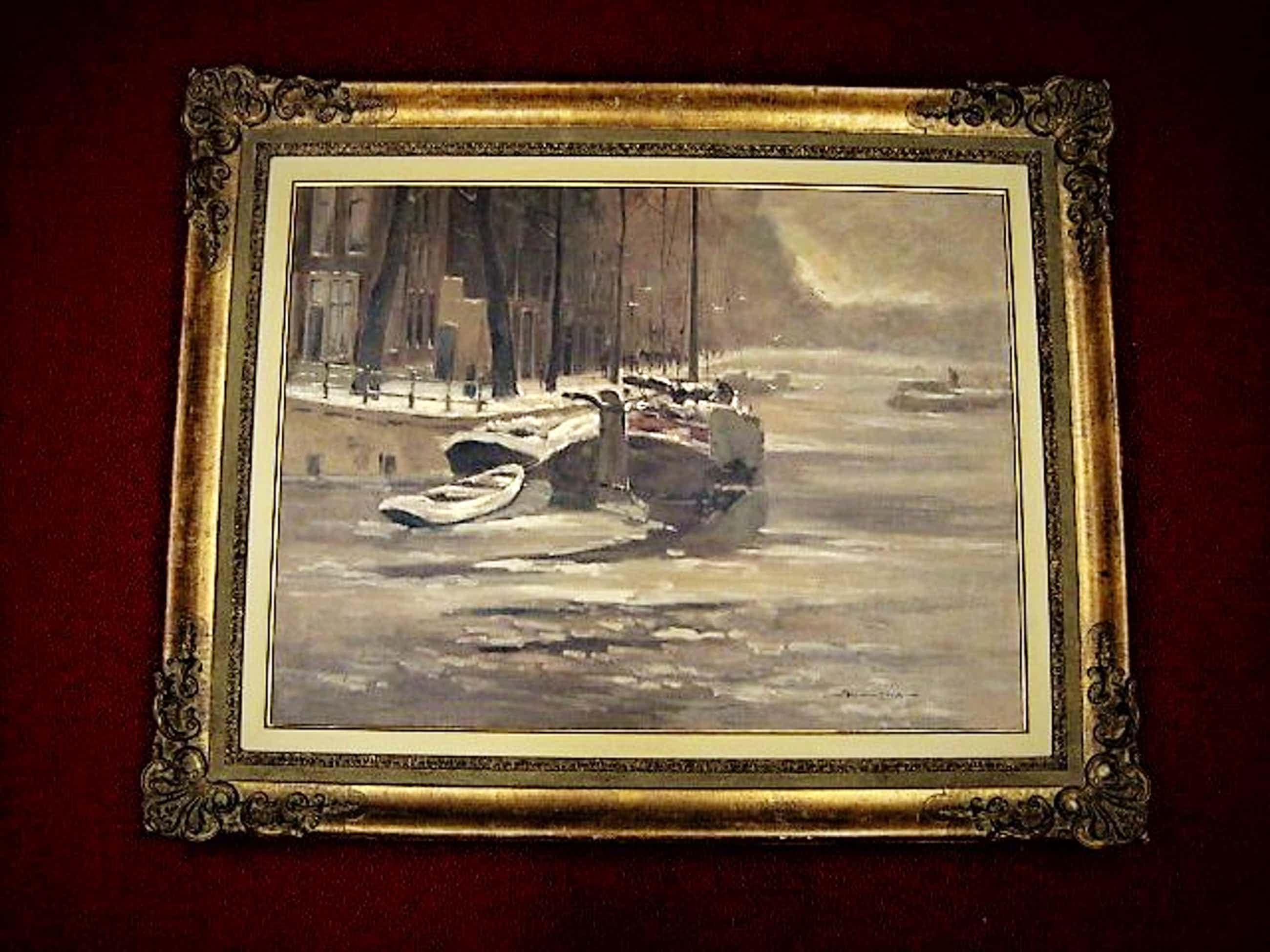 """Jos van Dijk - Groot impressionistisch Olieverf """"Amsterdam Brouwersgracht wintergezicht"""" 1950 kopen? Bied vanaf 190!"""