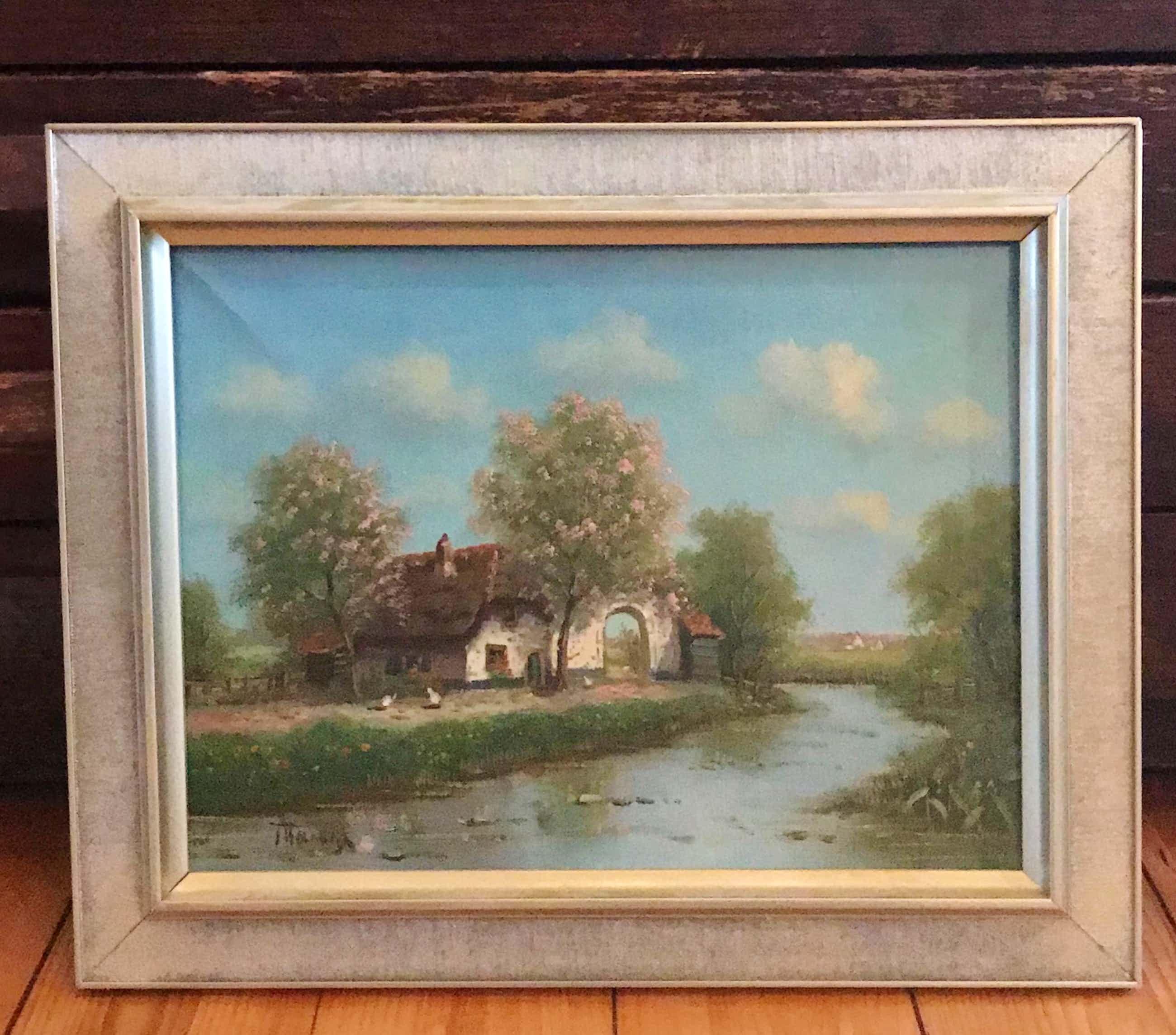 Albert Torringa - Olieverf op doek, Landschap met huisje langs water (ingelijst) kopen? Bied vanaf 45!