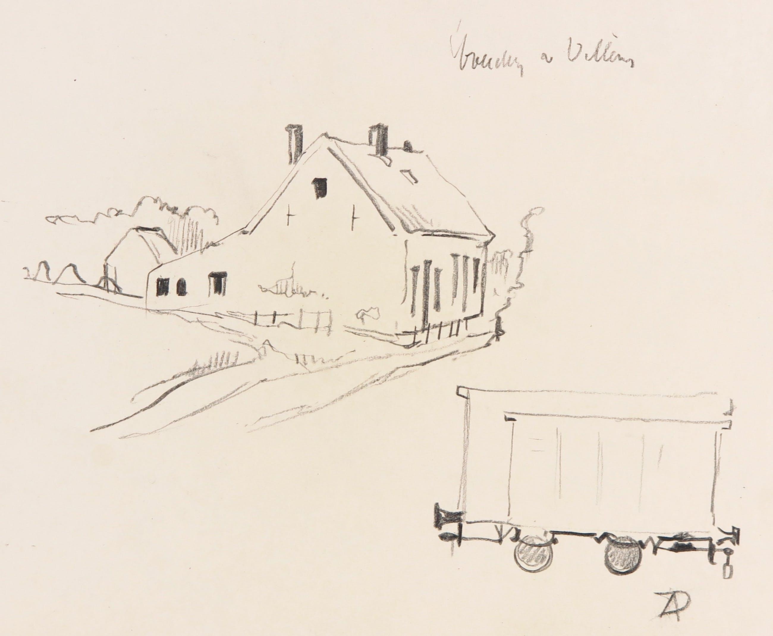 Anton Pieck - Zwart/wit potlood op schetspapier, Boerderij te Villay en trekkar kopen? Bied vanaf 100!
