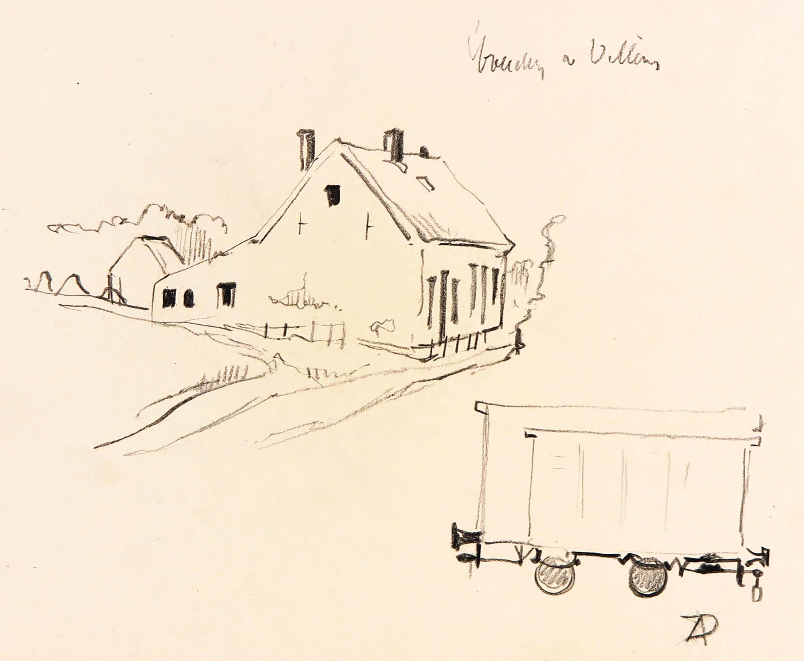 Anton Pieck - Zwart/wit potlood op schetspapier, Boerderij te Villay en trekkar kopen? Bied vanaf 80!