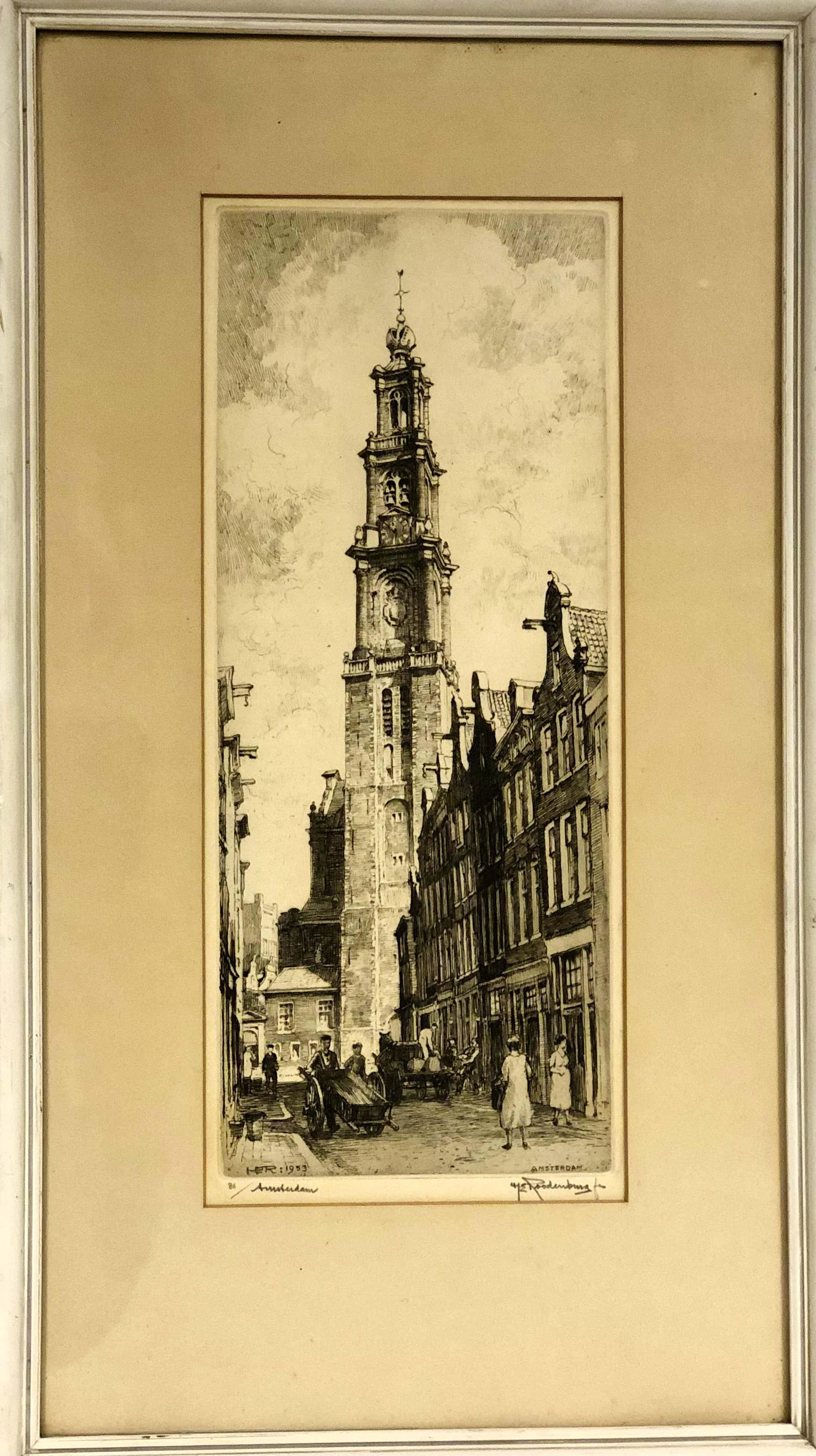 Hendrikus Roodenburg - Westerkerk Amsterdam vanaf Bloemstraat kopen? Bied vanaf 50!