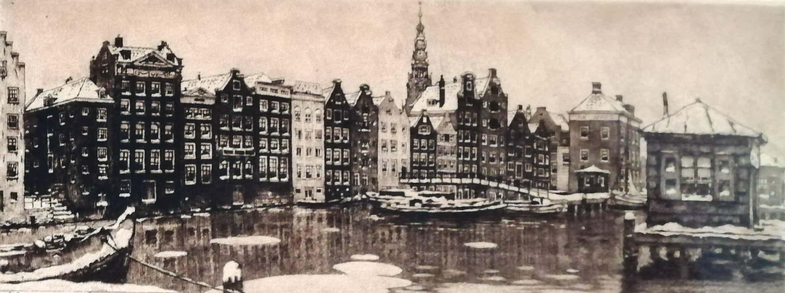 Cornelis Brandenburg - Damrak in de winter kopen? Bied vanaf 75!