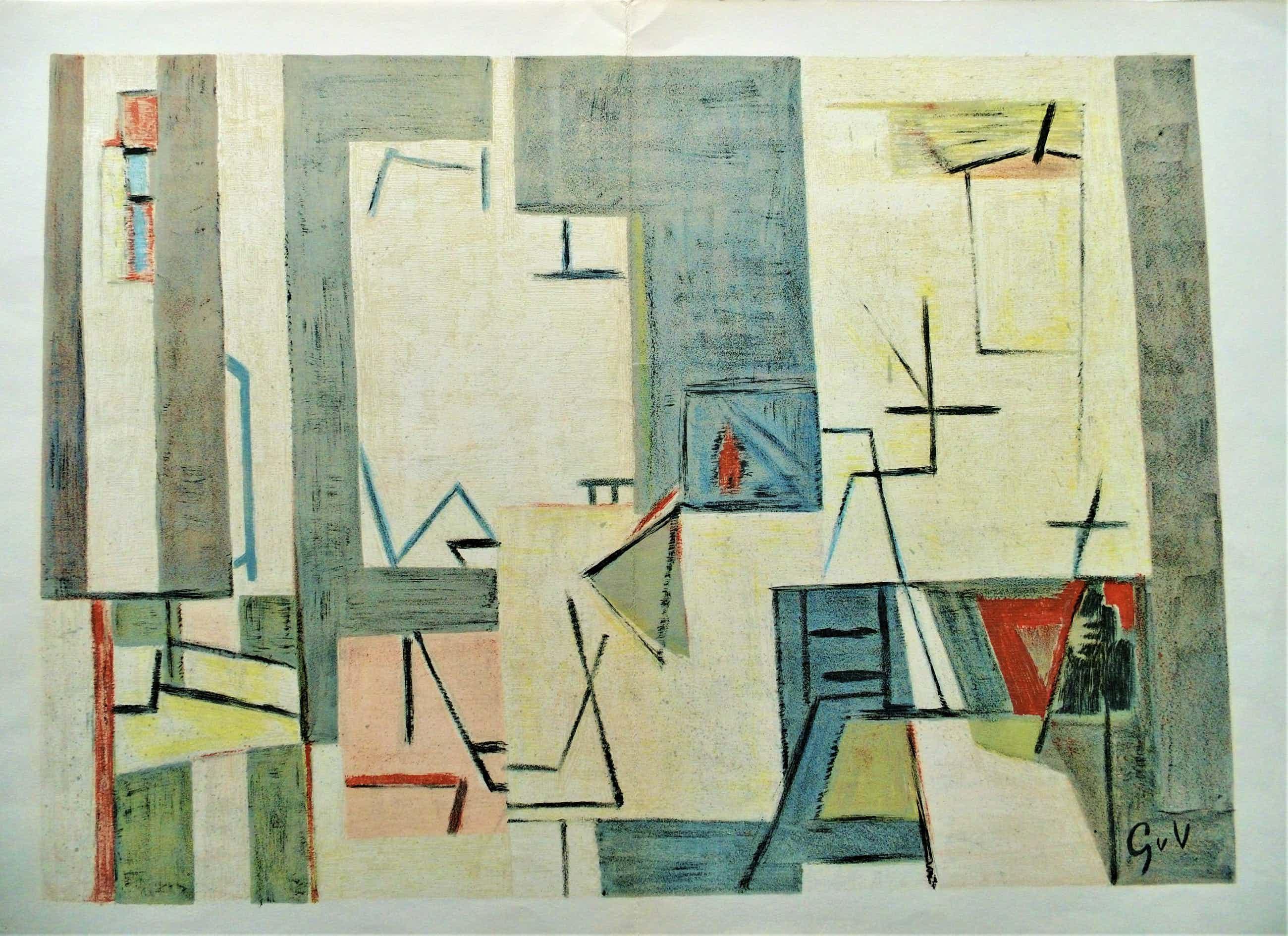 Geer van Velde - mooie abstracte litho kopen? Bied vanaf 110!