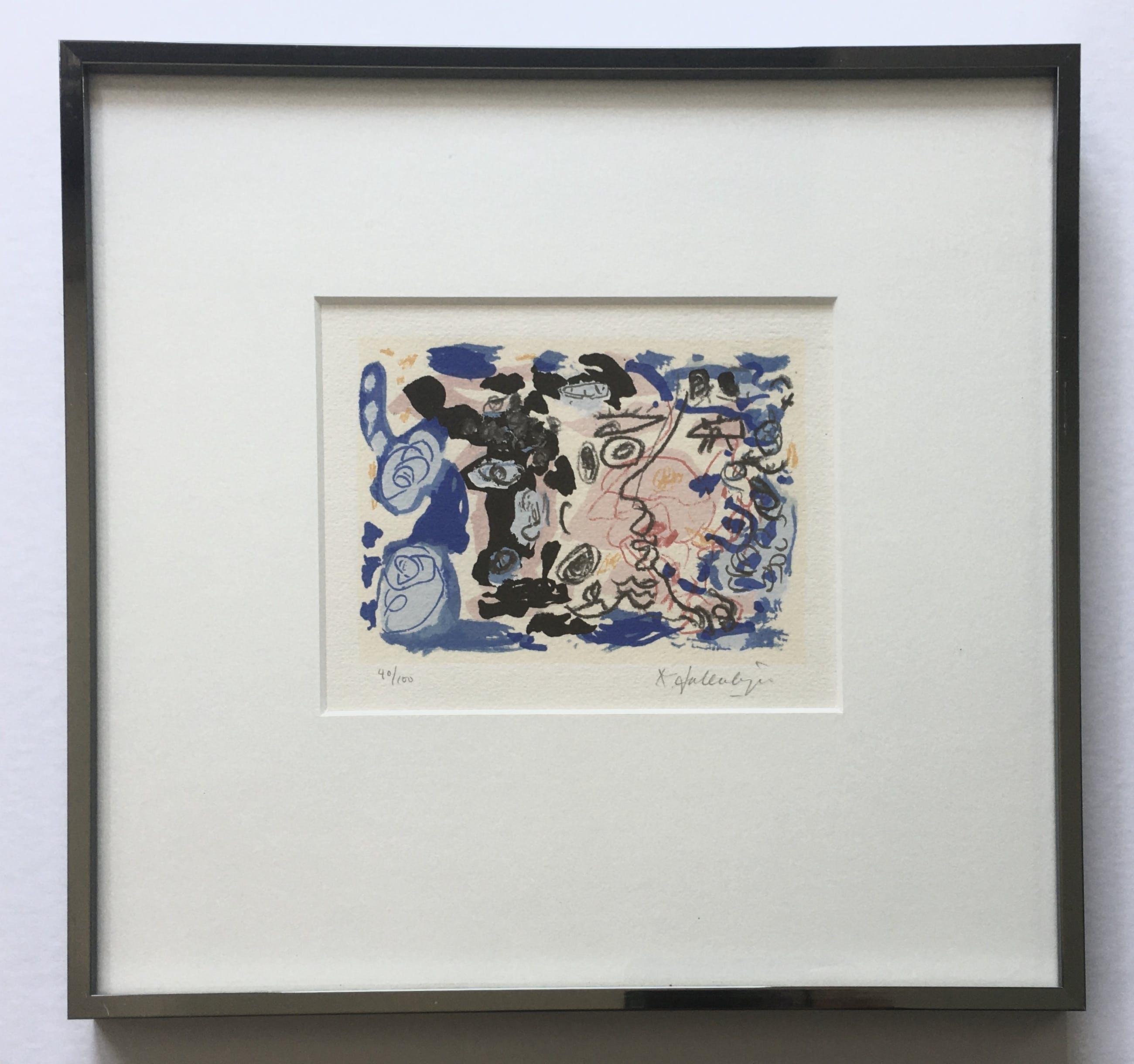 Kees Salentijn - abstracte zeefdruk - ingelijst kopen? Bied vanaf 1!