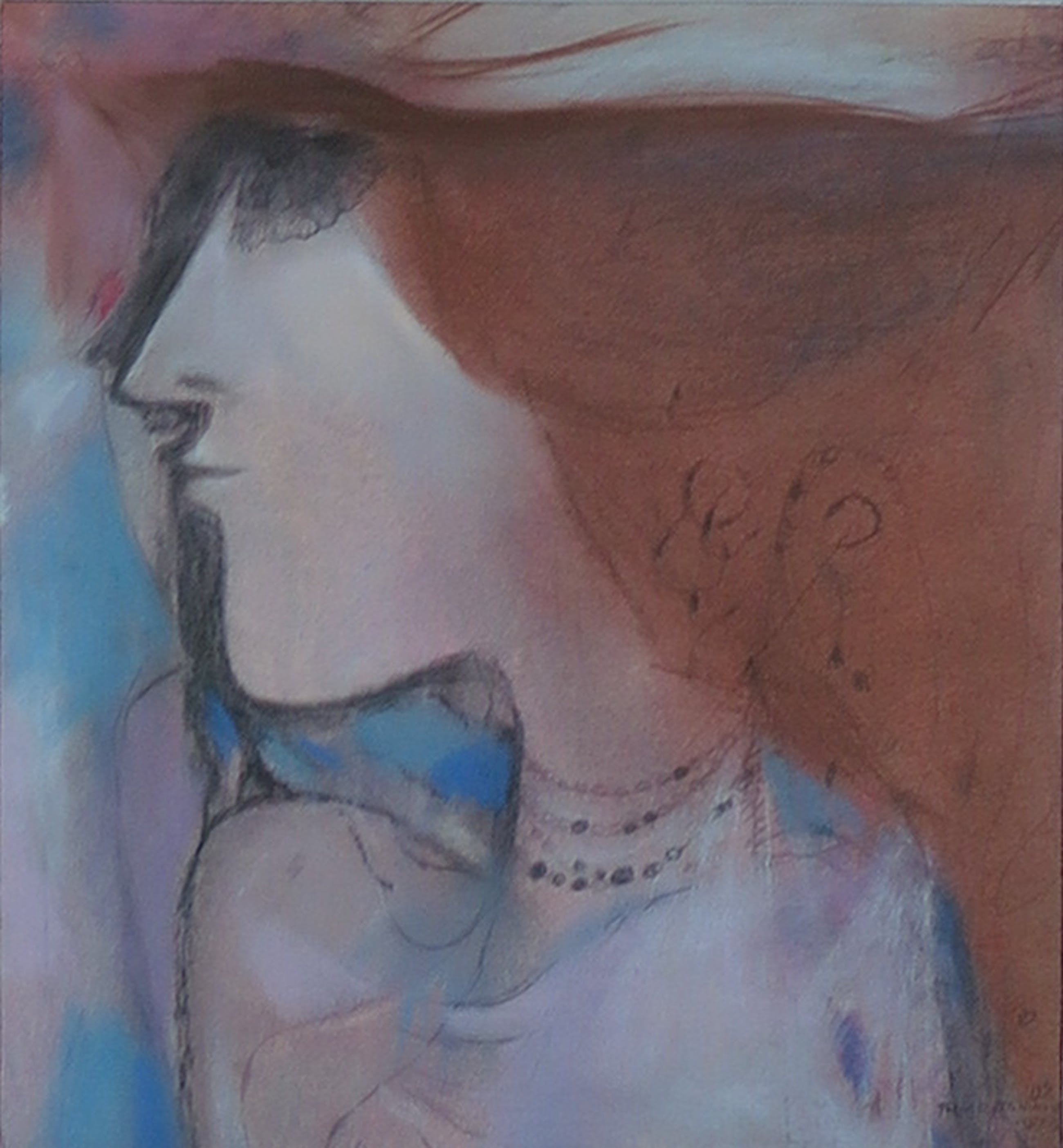 Theo van der Nahmer - Pastel/krijt op papier, Vrouw nr. 2 - Ingelijst kopen? Bied vanaf 1!