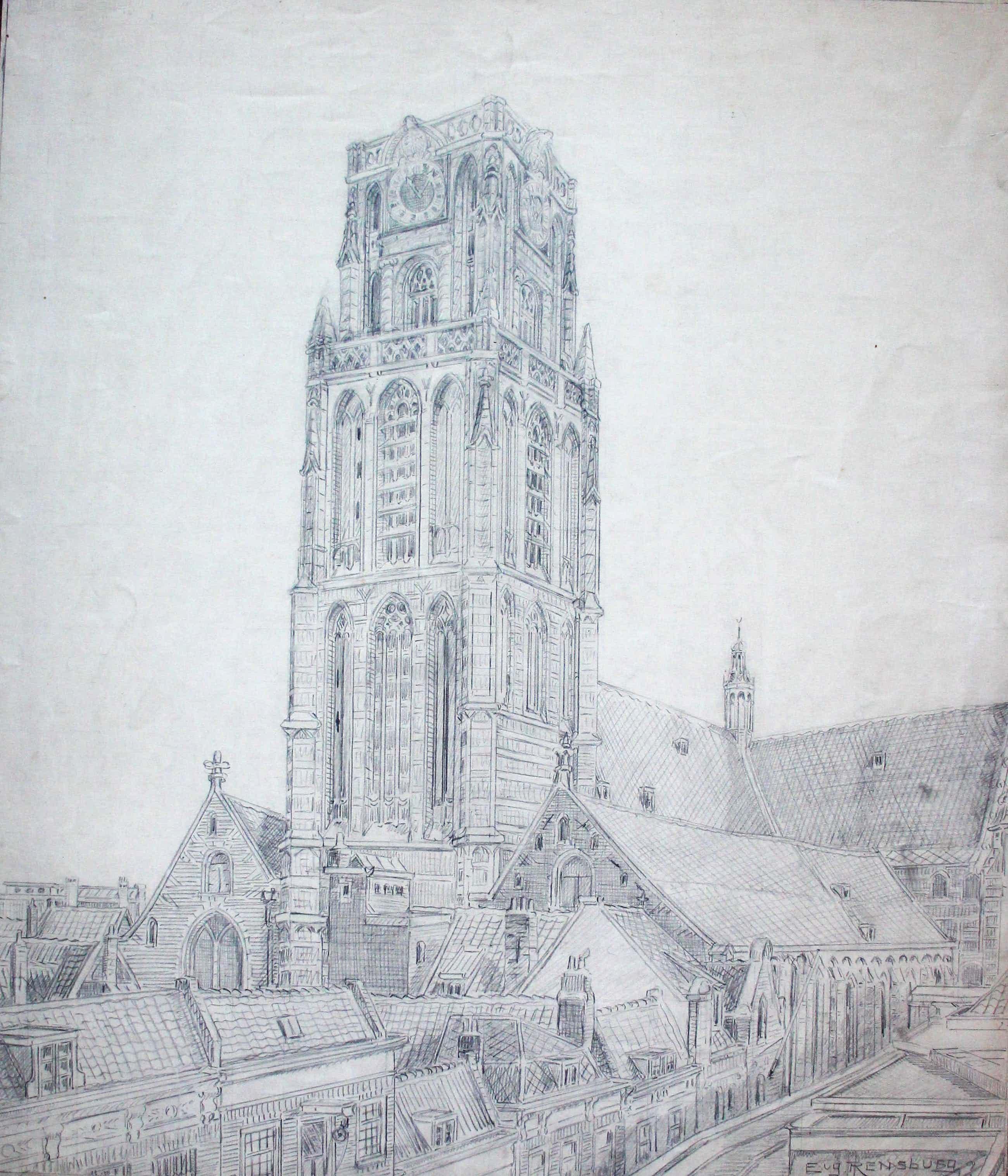 Eugene Rensburg - Grote potloodtekening: Rotterdam kopen? Bied vanaf 99!