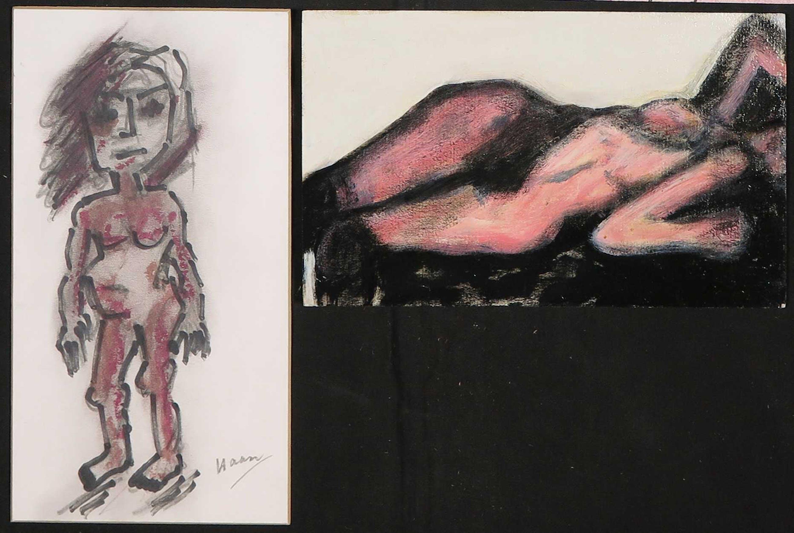 Pieter Haan - Lot van vijf werken, diverse voorstellingen in thema figuren/naakt kopen? Bied vanaf 1!