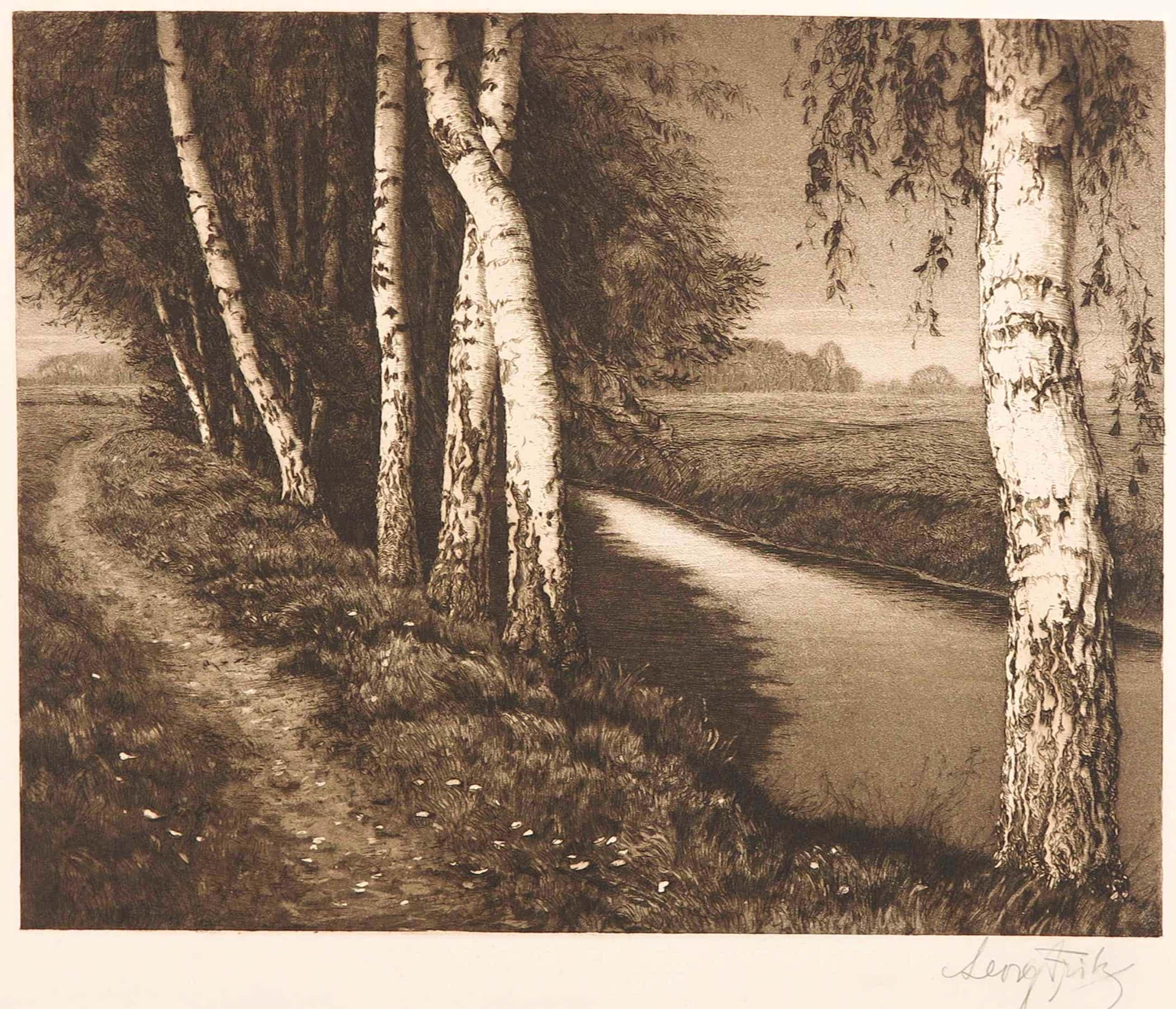 Georg Fritz - Radierung, Landschaft met Birken kopen? Bied vanaf 40!