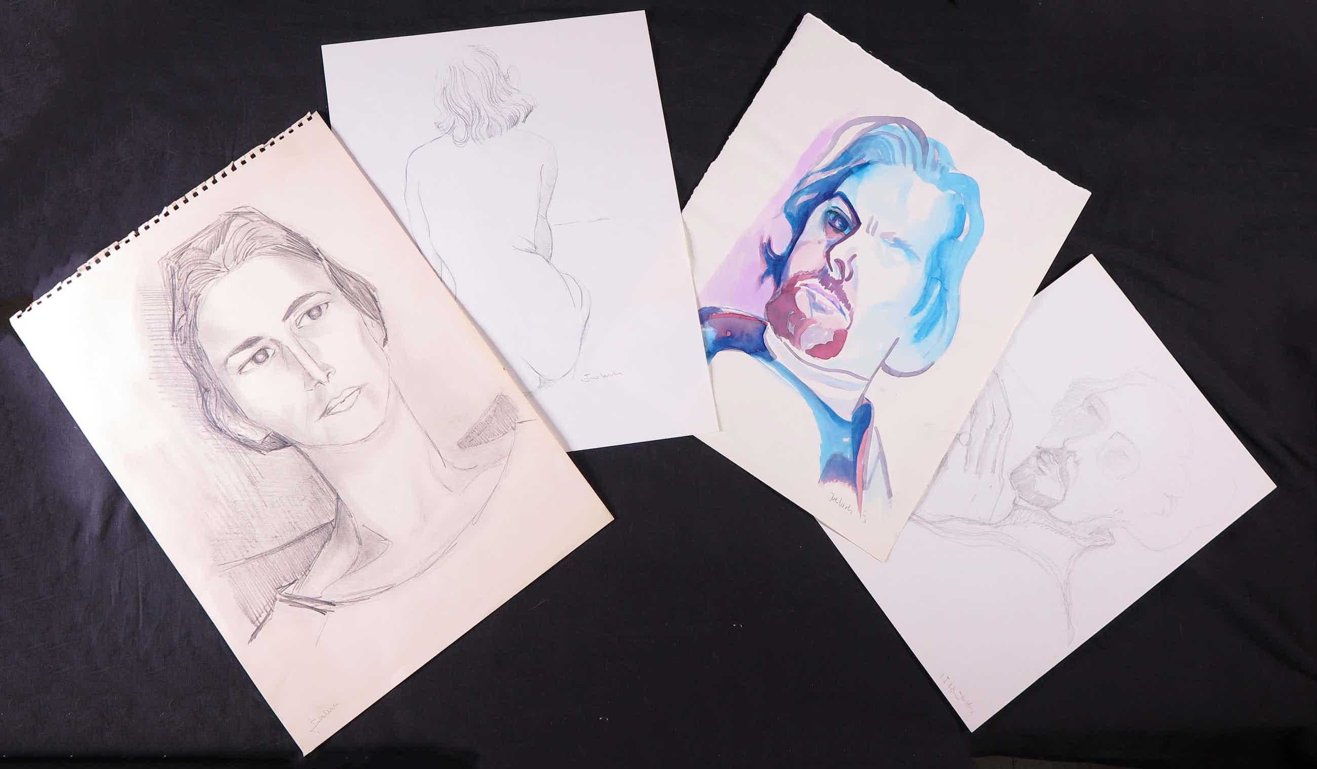 Joe Wols - Lot van vier portrettekeningen op papier, kopen? Bied vanaf 1!