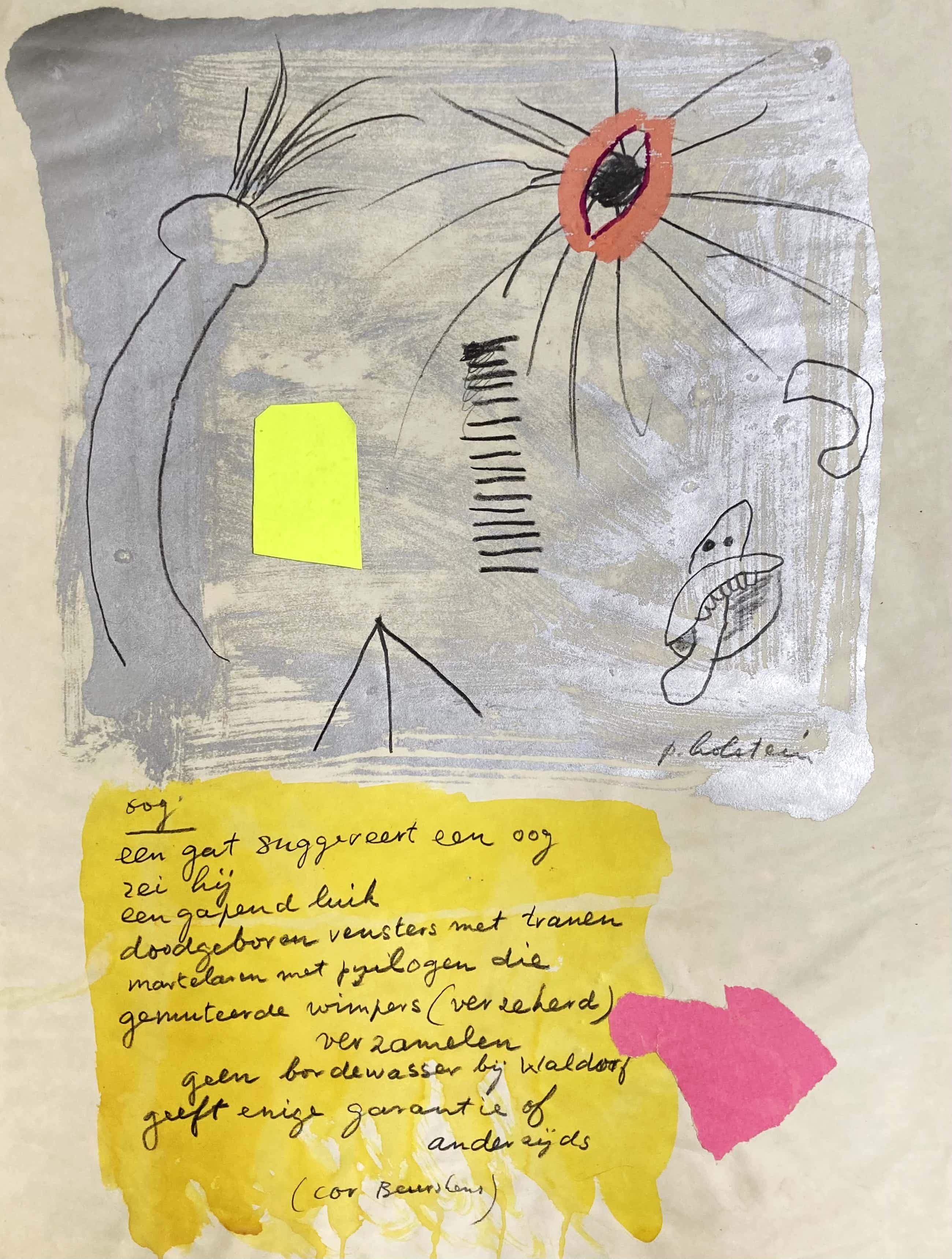 Pieter Holstein - Oog, met gedicht van Cor Beurskens. kopen? Bied vanaf 45!