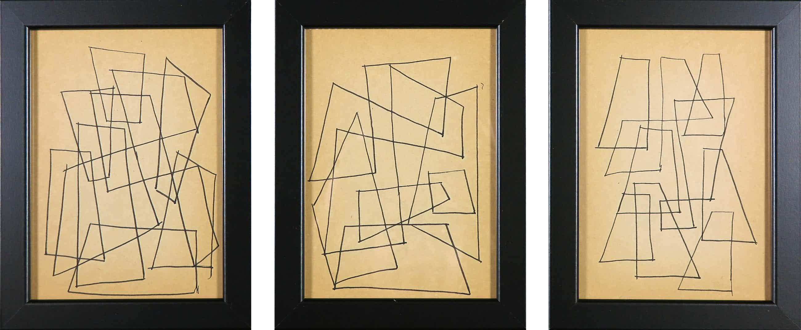 Siep van den Berg - Lot van drie tekeningen, Abstracte composities - Ingelijst kopen? Bied vanaf 40!