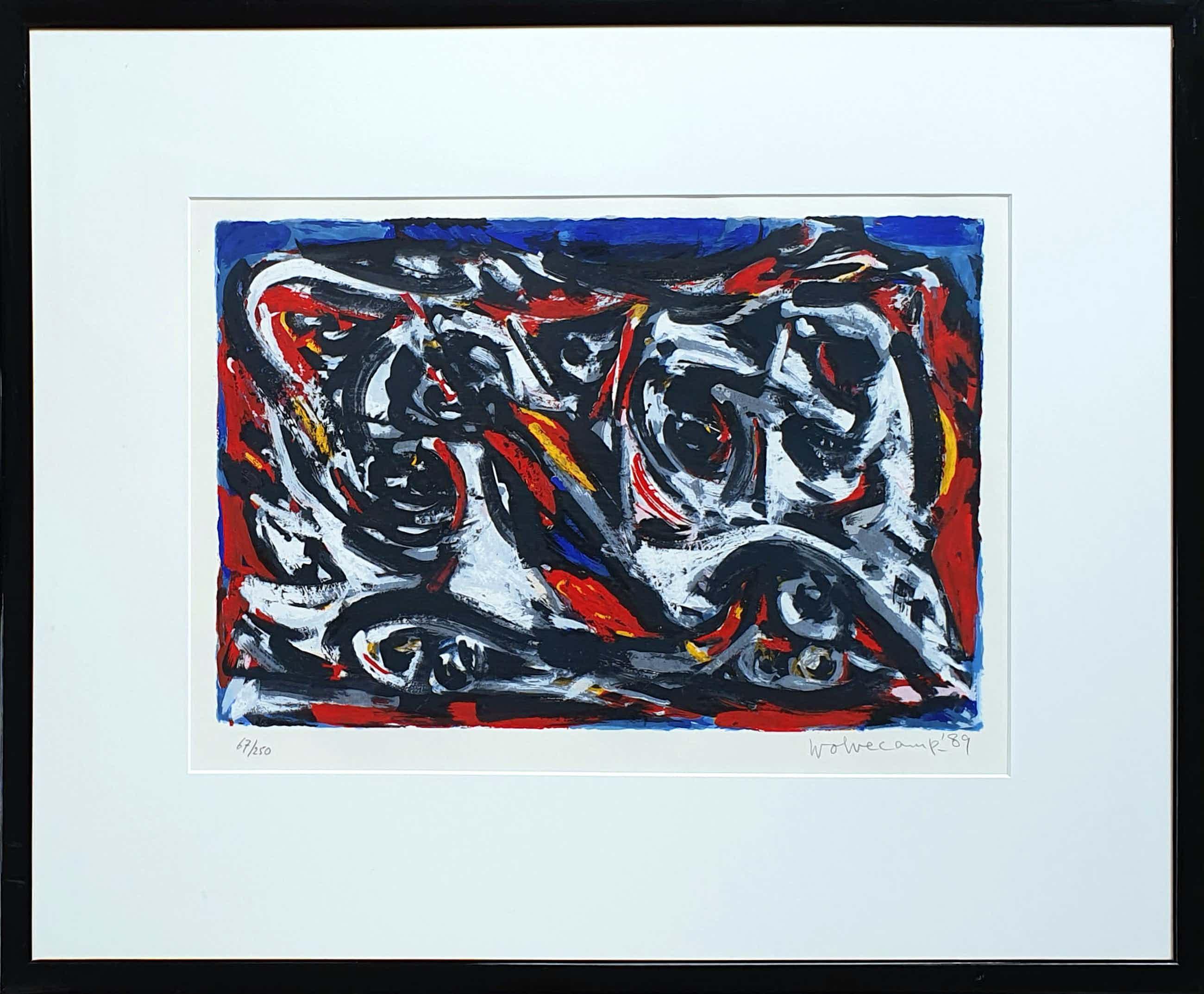 Theo Wolvecamp - Compositie in rood en blauw | Ingelijst kopen? Bied vanaf 195!