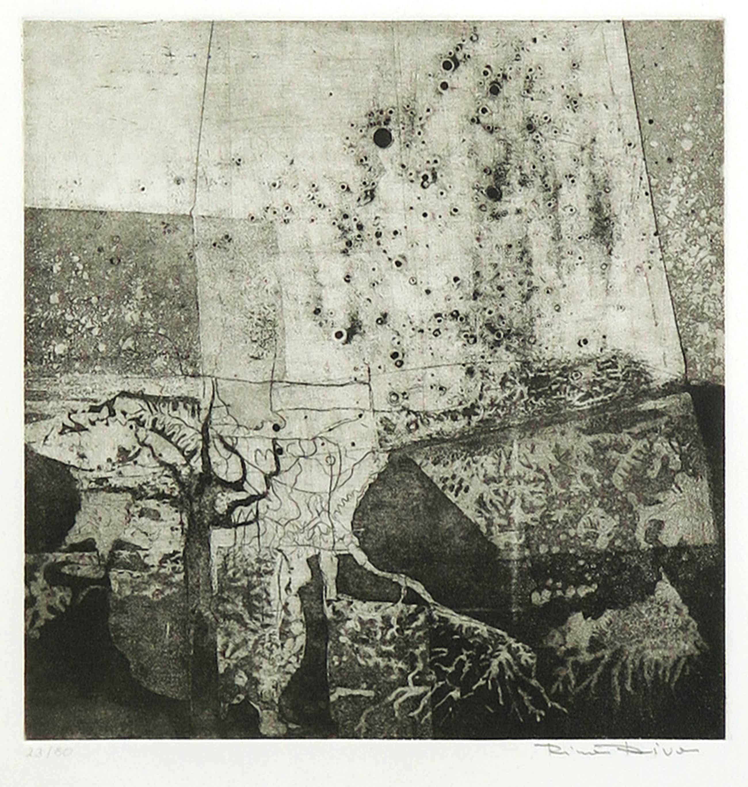 Rina Riva - Ets, Z.T. Abstracte compositie - Ingelijst kopen? Bied vanaf 120!