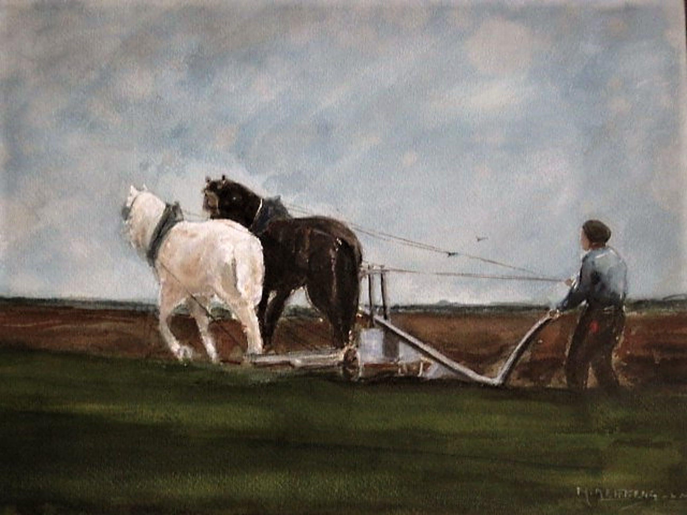 """Martinus Josephus Nefkens - Groot M.J. Nefkens Aquarel """"ploegende Boer en Paarden"""" gesigneerd kopen? Bied vanaf 10!"""