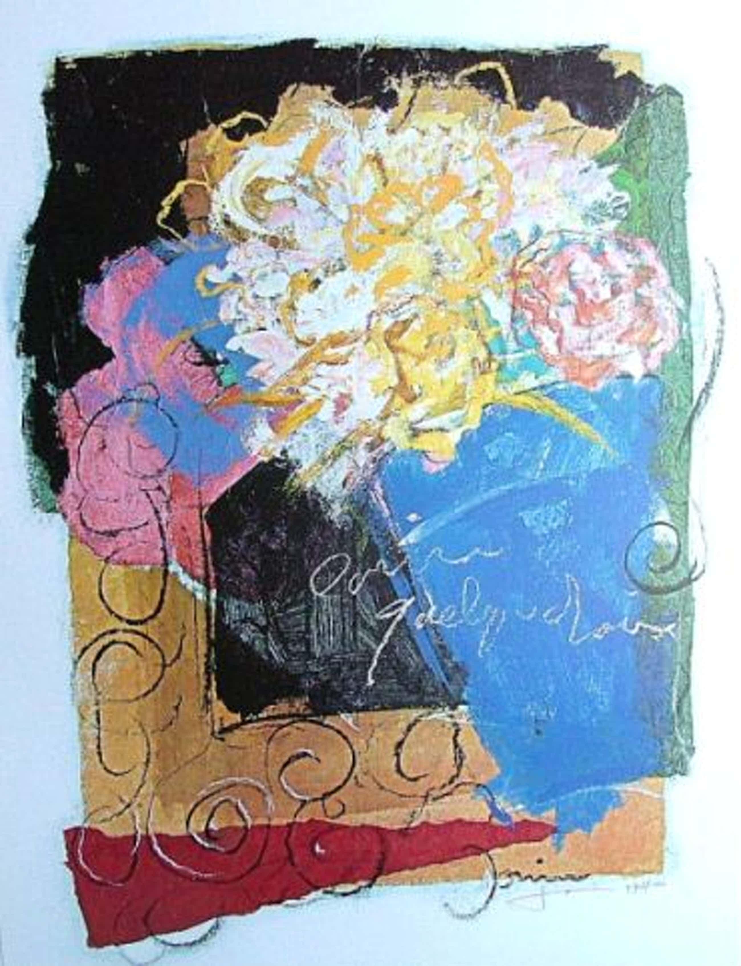Ger Doornink - Bouquet en bleu - originele litho, genummerd 470/1000 en handgesigneerd kopen? Bied vanaf 25!