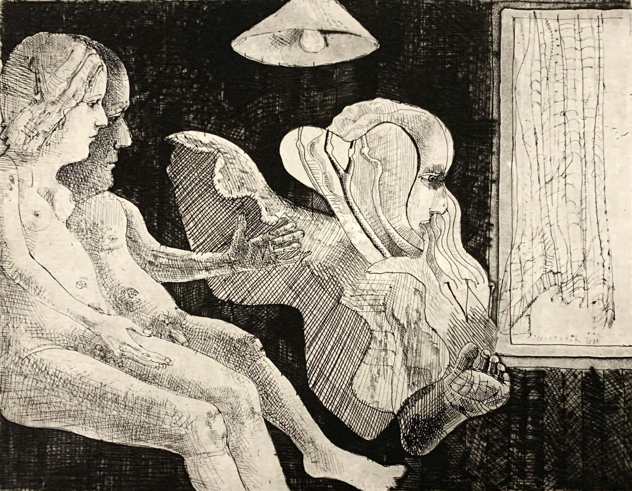 Co Westerik - ets, 'Naakt paar met verschijning', 1971 (PRENT 190) kopen? Bied vanaf 270!
