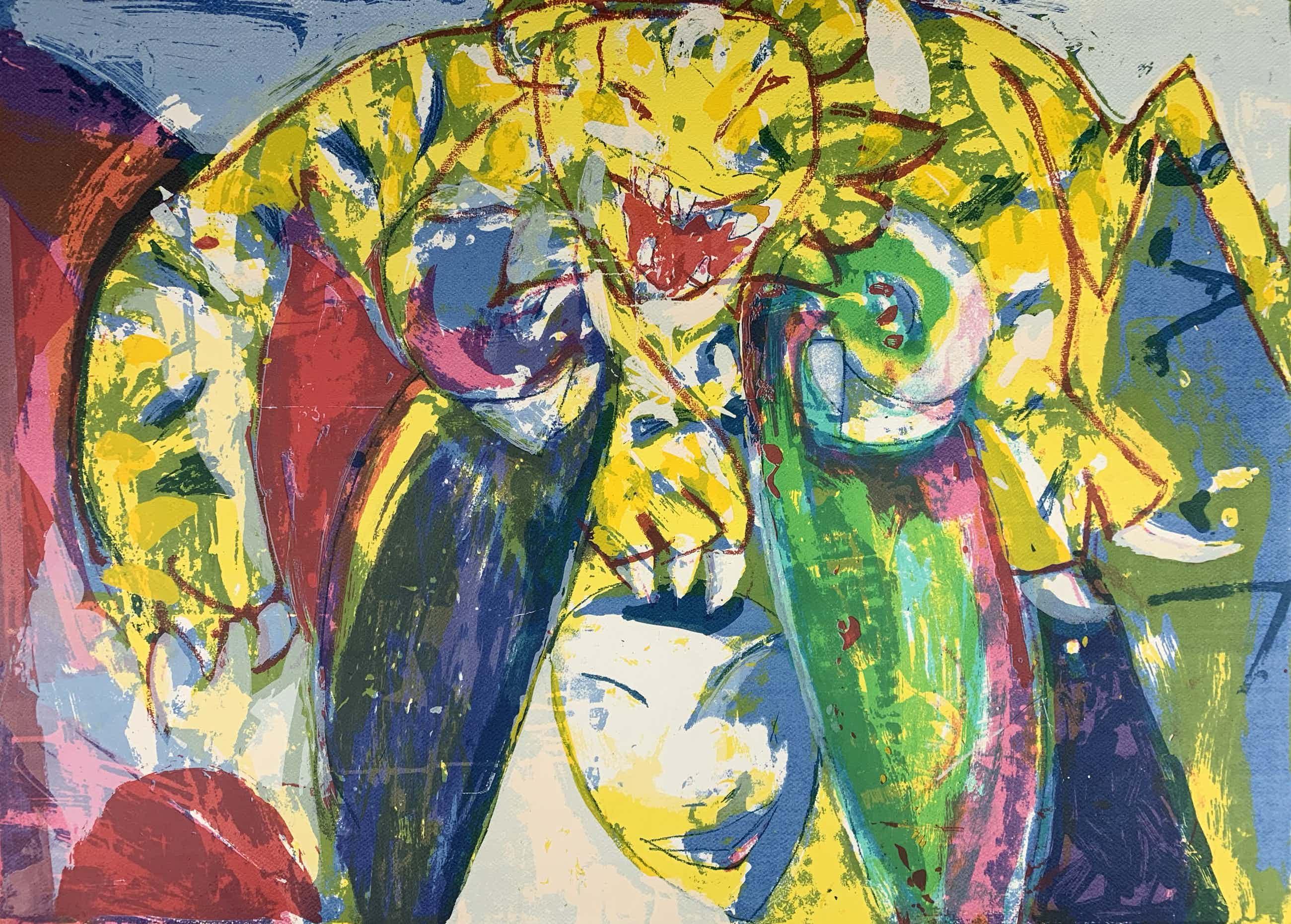 Anton Vrede - kleurenlitho - 'Between love and hate' - 1989 (GROOT WERK) kopen? Bied vanaf 79!