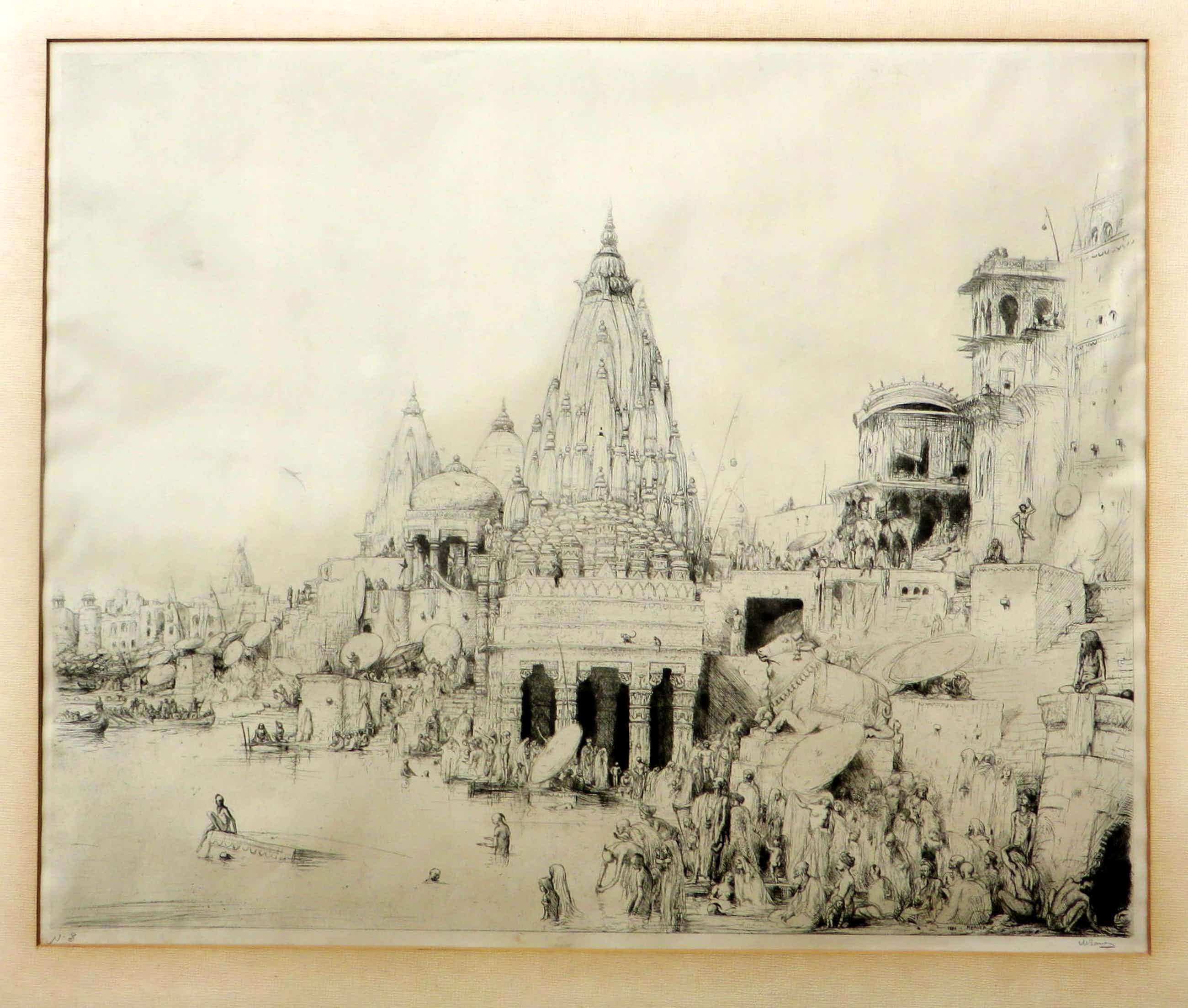 Marius Bauer - Gezicht op de Ganges met badende mensen met tempel op de achtergrond. kopen? Bied vanaf 330!