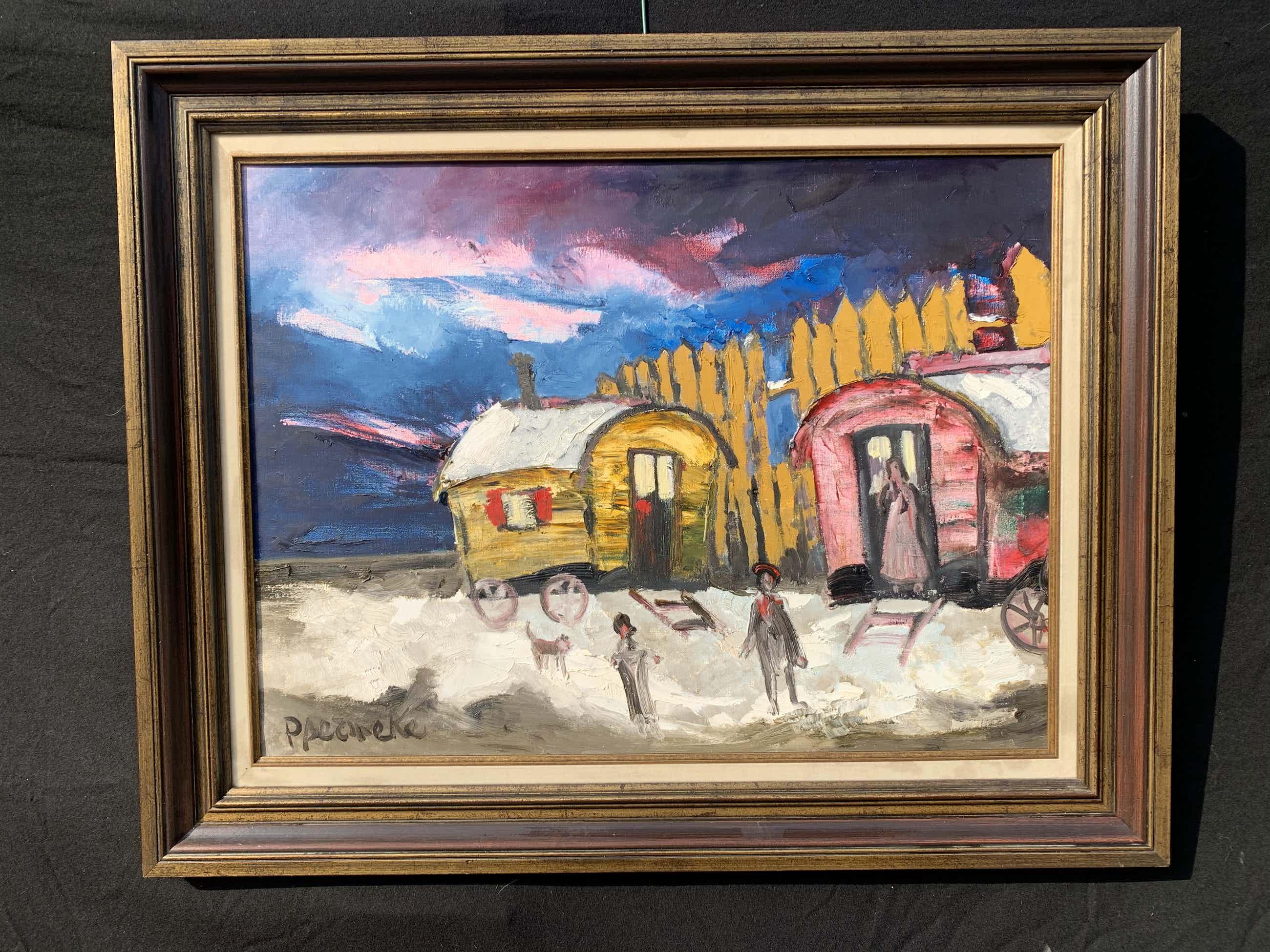 Paul Permeke - Olieverf schilderij: circus woonwagens kopen? Bied vanaf 590!