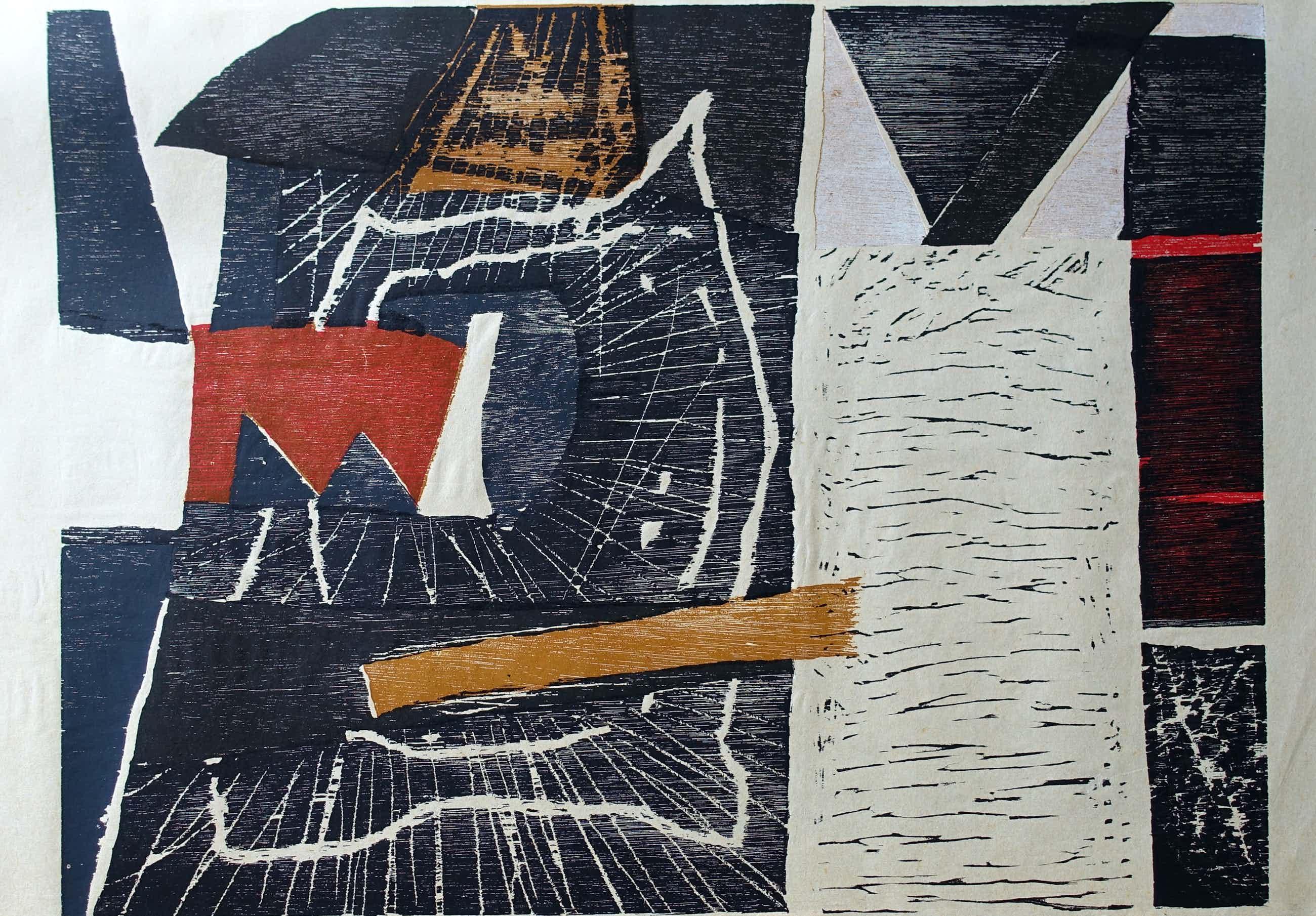 Guillaume Le Roy - # COMPOSITIE # groot formaat houtsnede, 1983, mint- kopen? Bied vanaf 225!