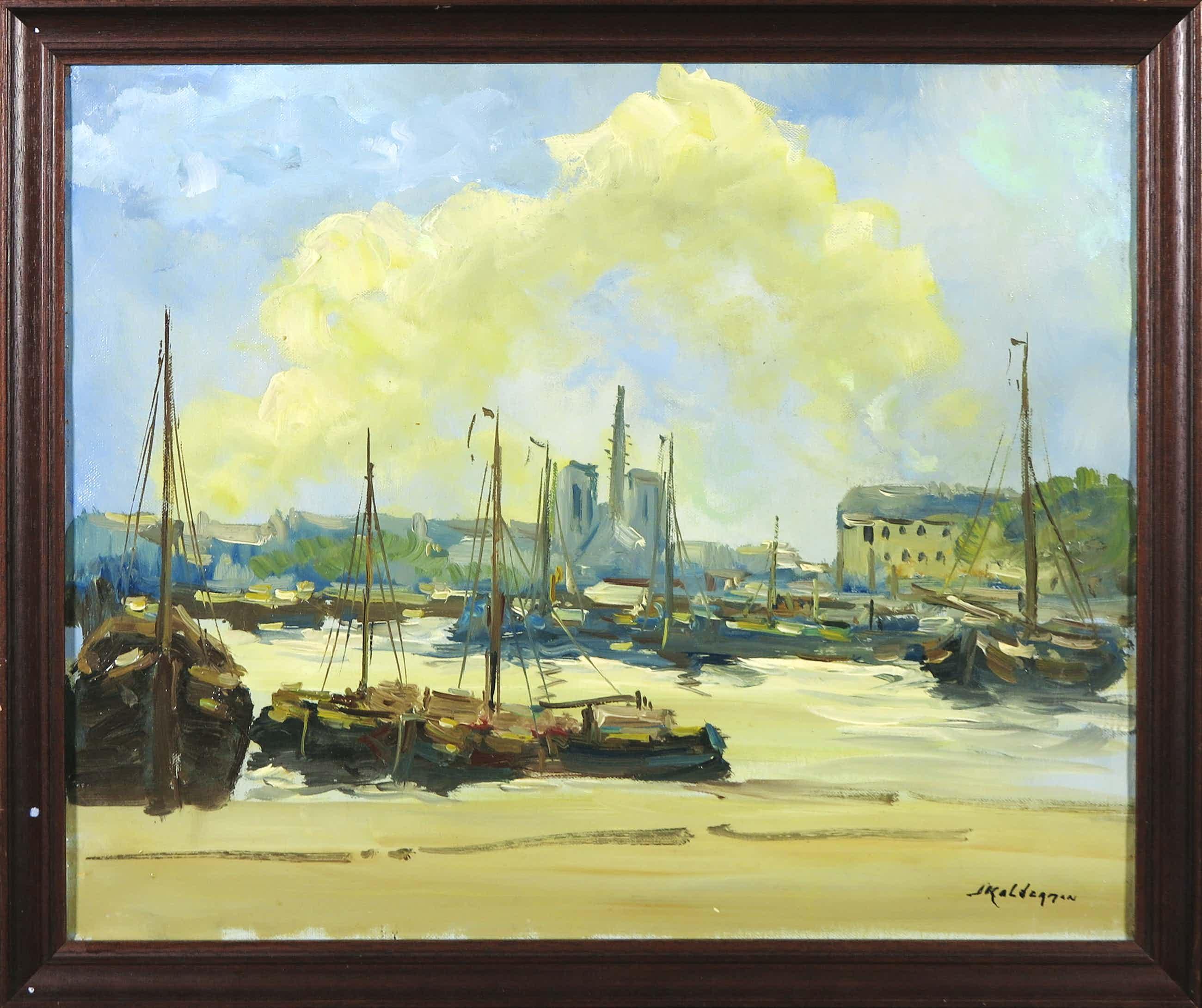Jan Kelderman - Olieverf op doek, Gezicht op Parijs vanaf de Seine - Ingelijst kopen? Bied vanaf 40!