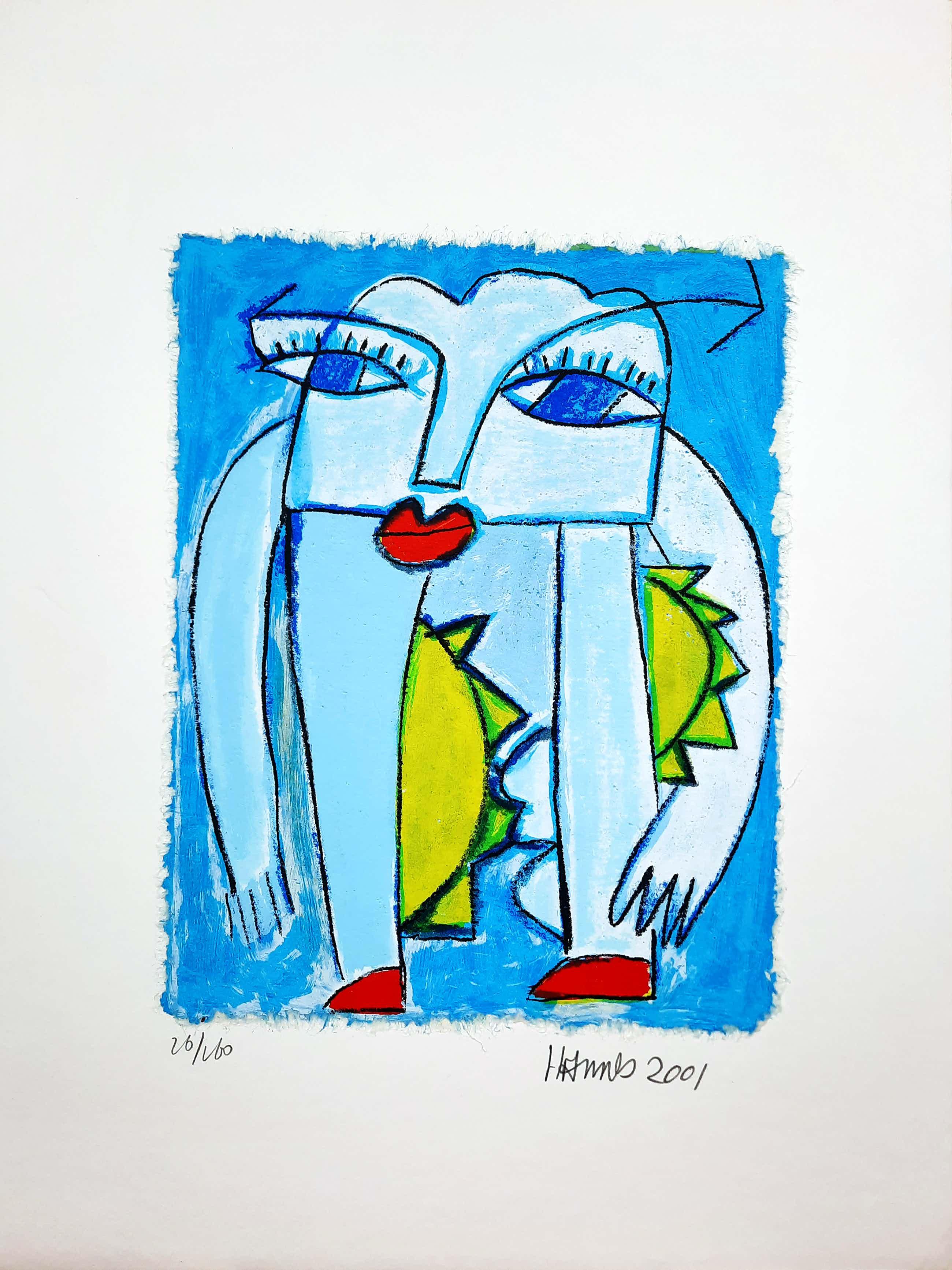 Hannes Kuiper - Geen titel - vrolijke en kleurrijke zeefdruk 26/160 - 21969 kopen? Bied vanaf 50!